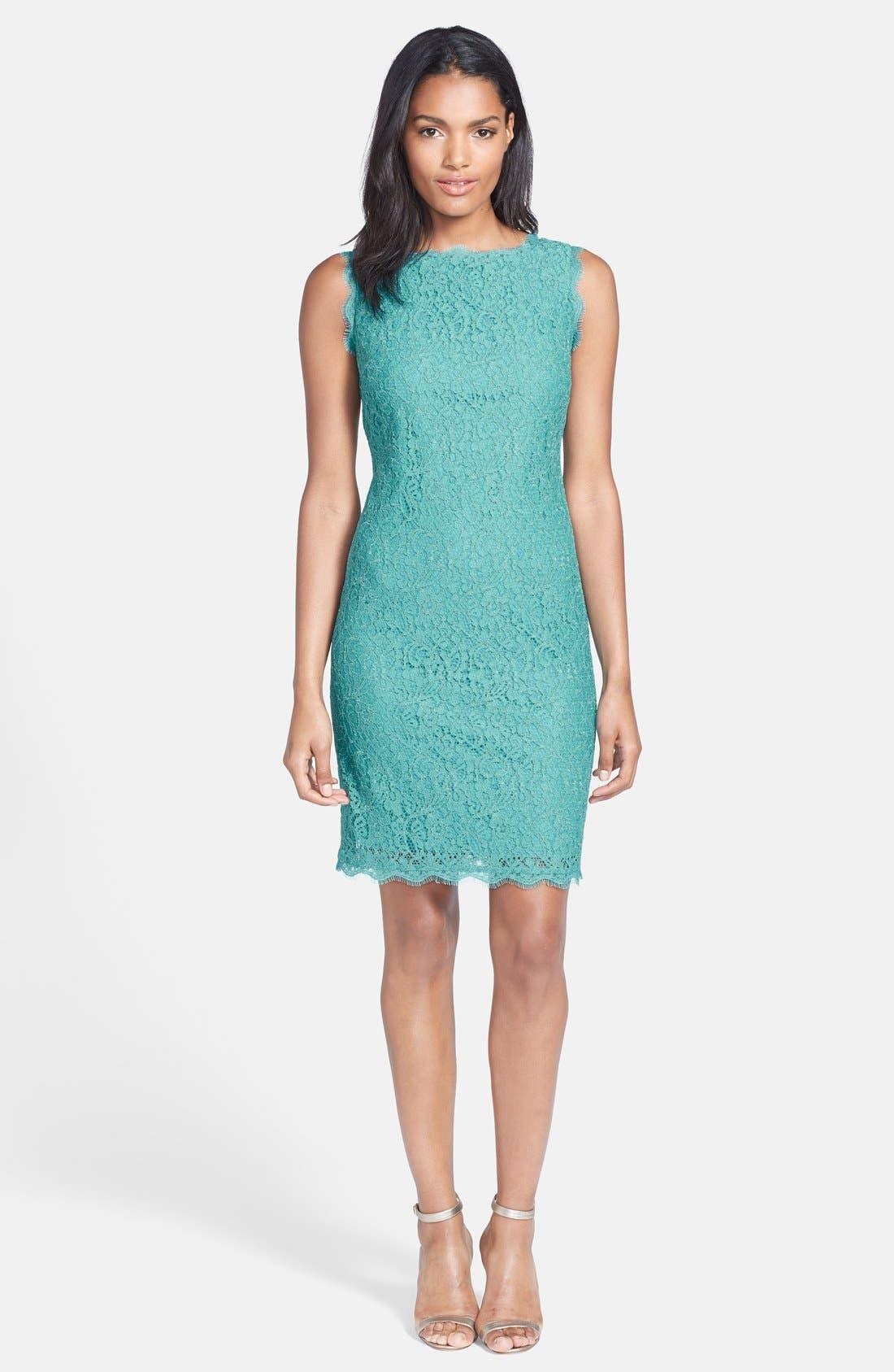 Boatneck Lace Sheath Dress,                             Alternate thumbnail 105, color,