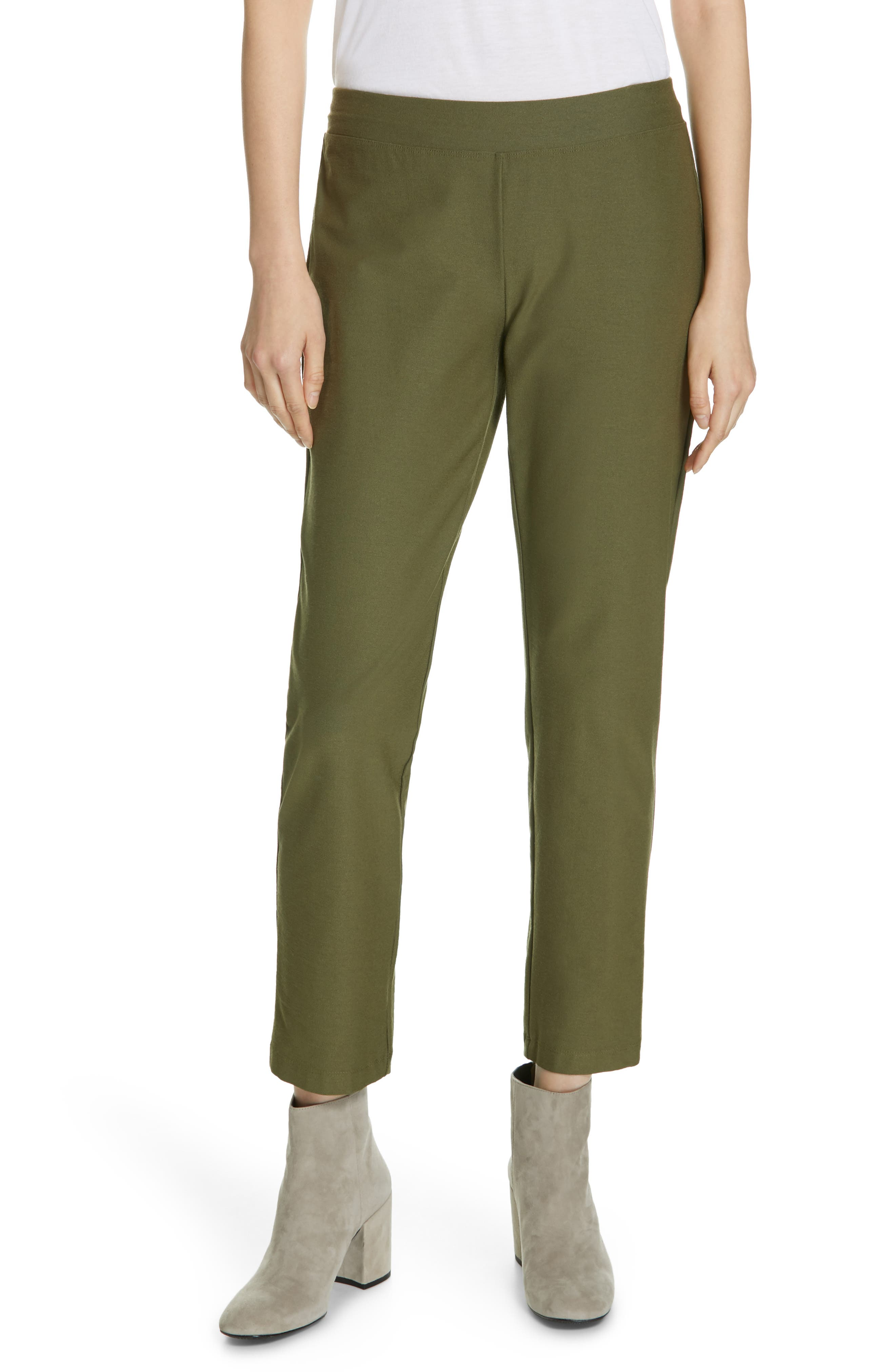 women's eileen fisher stretch crepe ankle pants, size x-large - green (regular & petite) (online only)