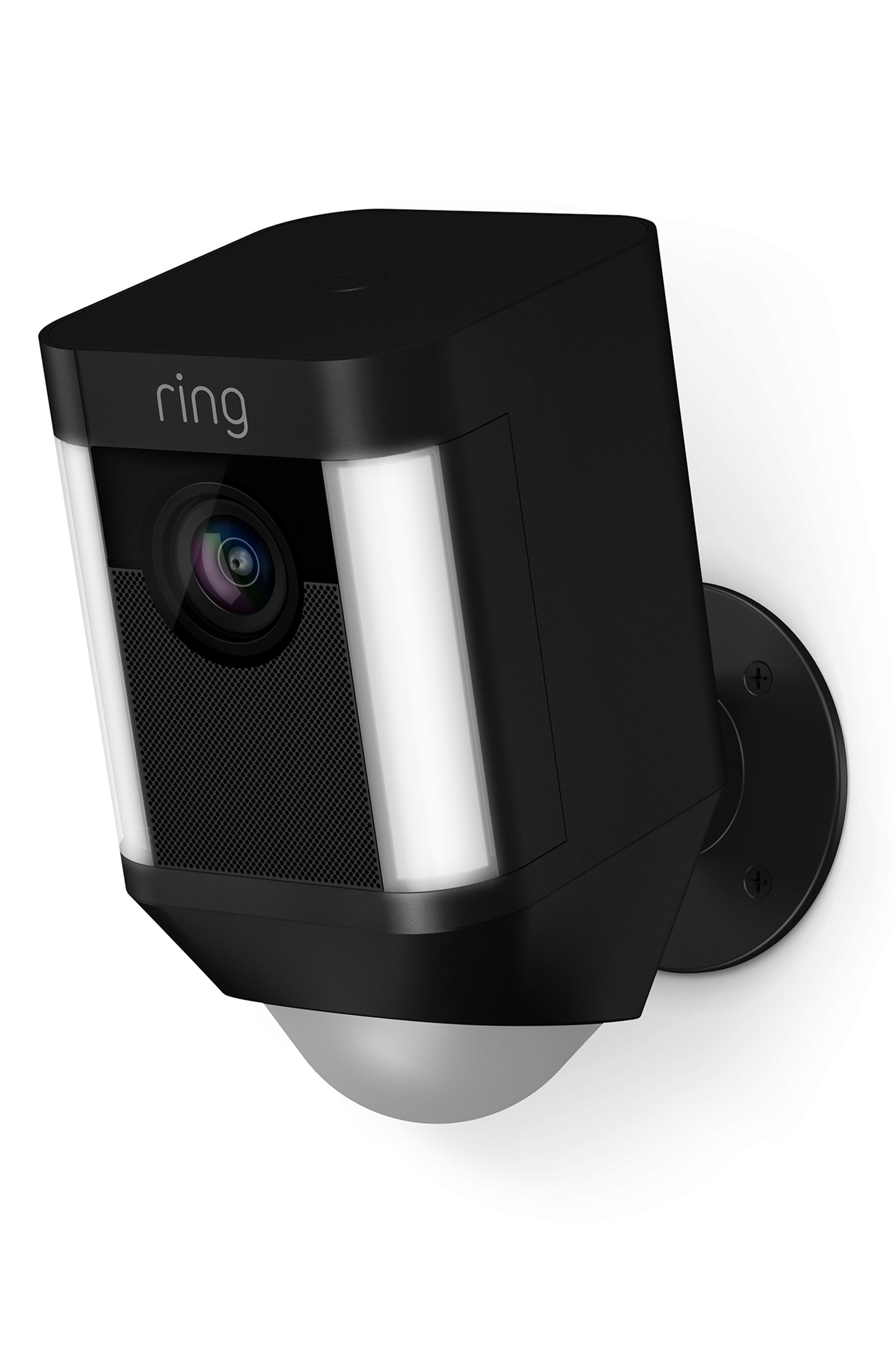 Battery-Operated Spotlight Security Camera,                             Main thumbnail 1, color,                             BLACK