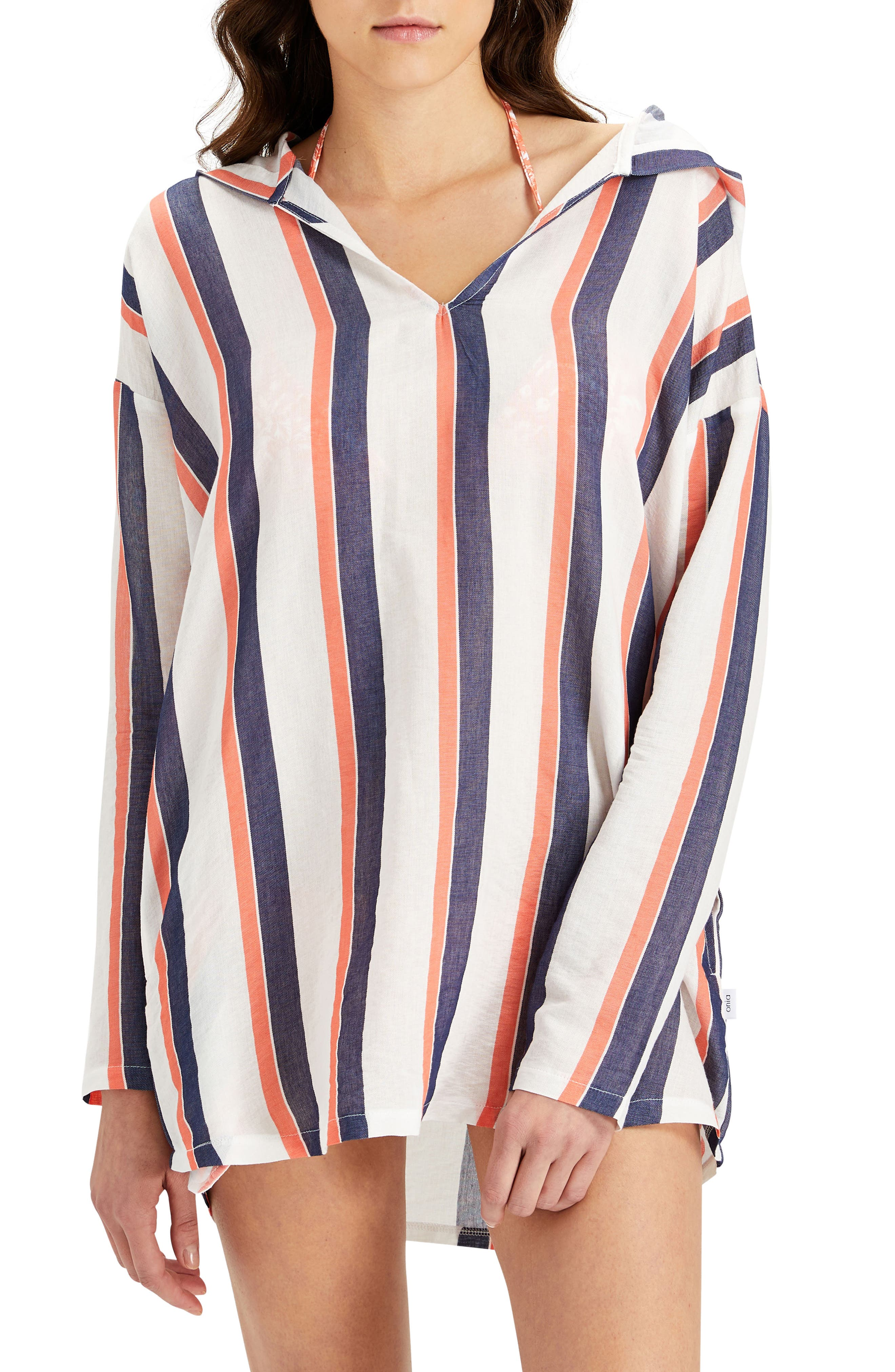 Sophia Stripe Hooded Cover-Up Tunic,                             Main thumbnail 1, color,                             822