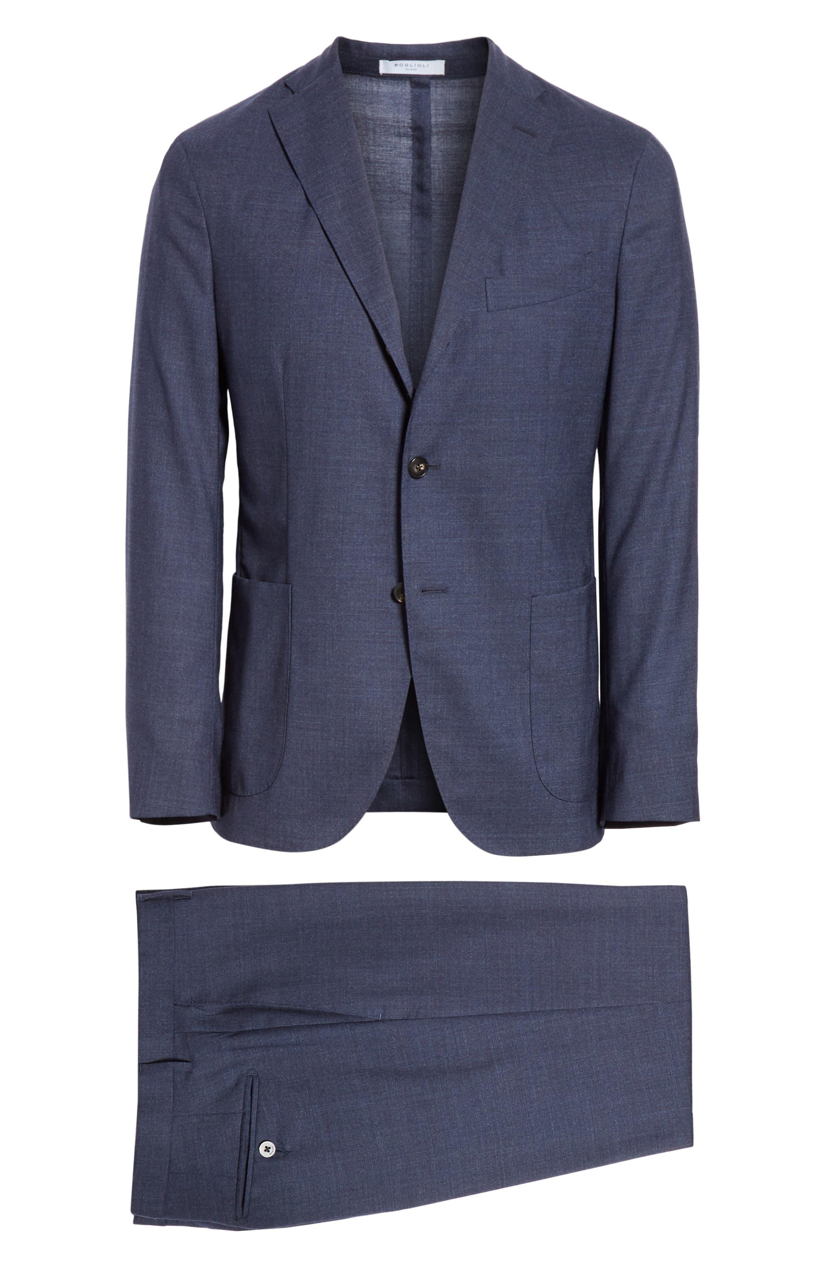 Trim Fit Solid Wool Suit,                             Alternate thumbnail 8, color,                             BLUE
