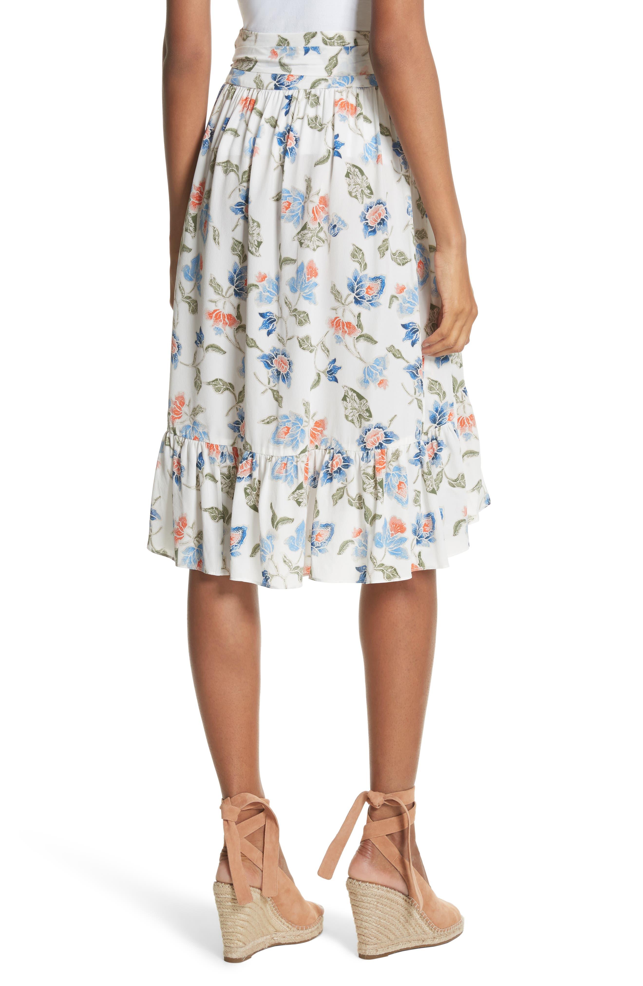 Denisha Floral Ruffle Silk Skirt,                             Alternate thumbnail 2, color,                             114
