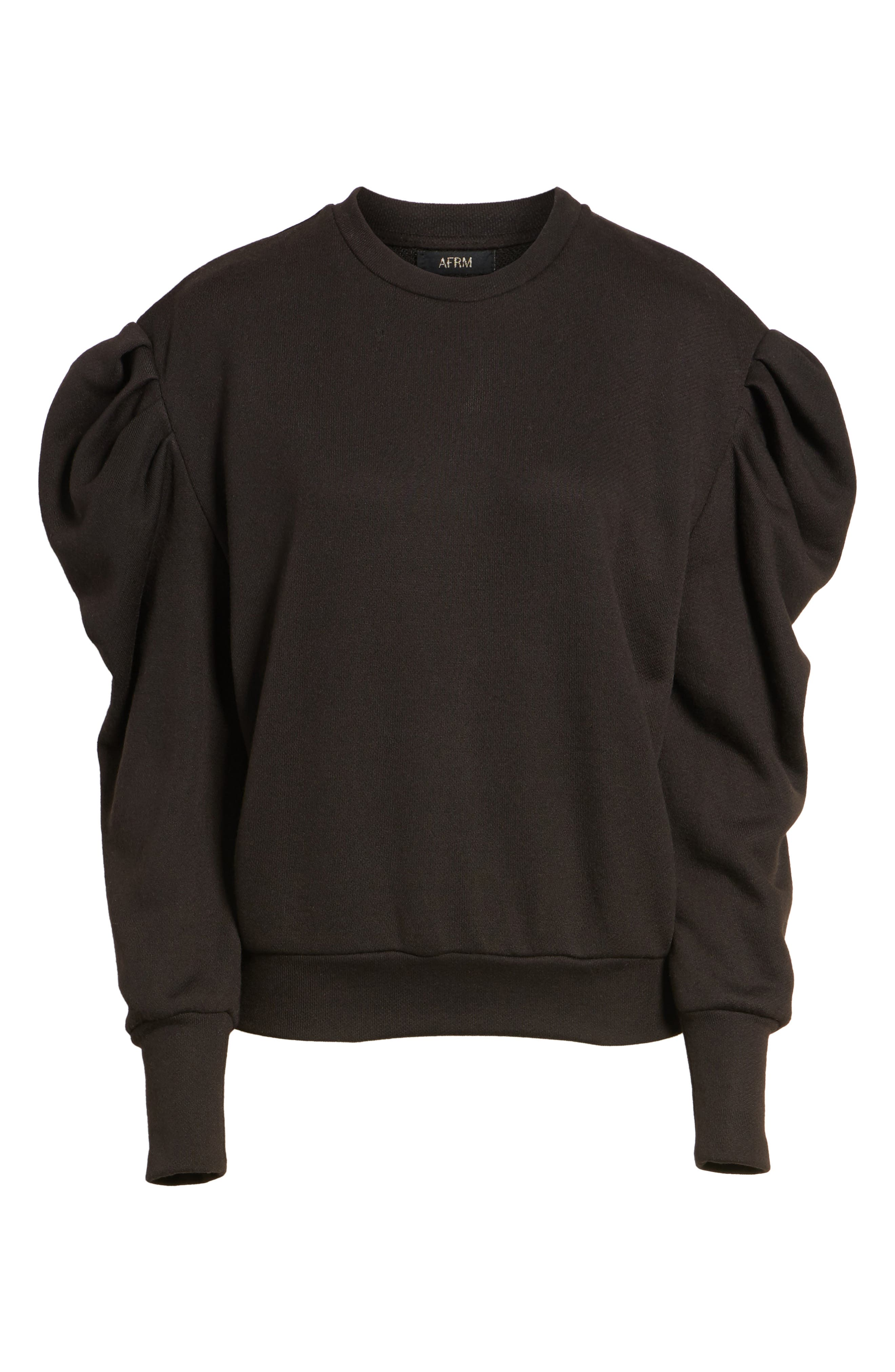 James Balloon Sleeve Sweatshirt,                             Alternate thumbnail 6, color,                             001