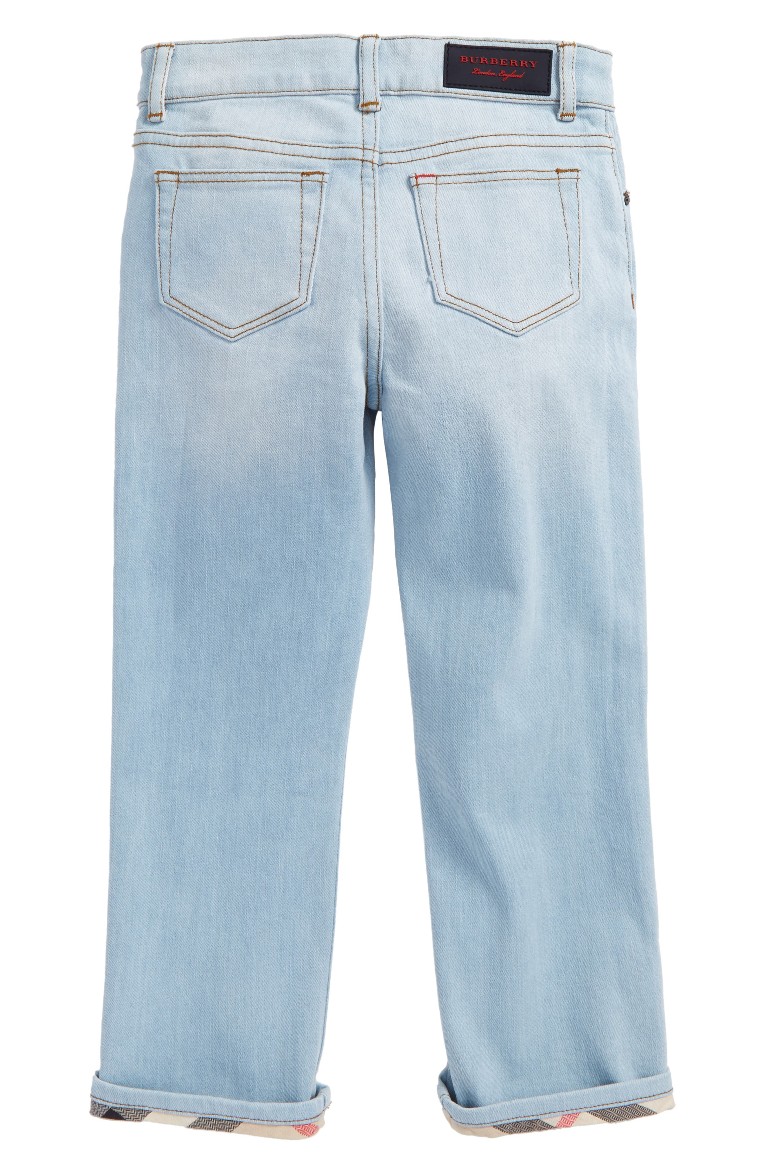Check Cuff Straight Leg Jeans,                             Alternate thumbnail 4, color,
