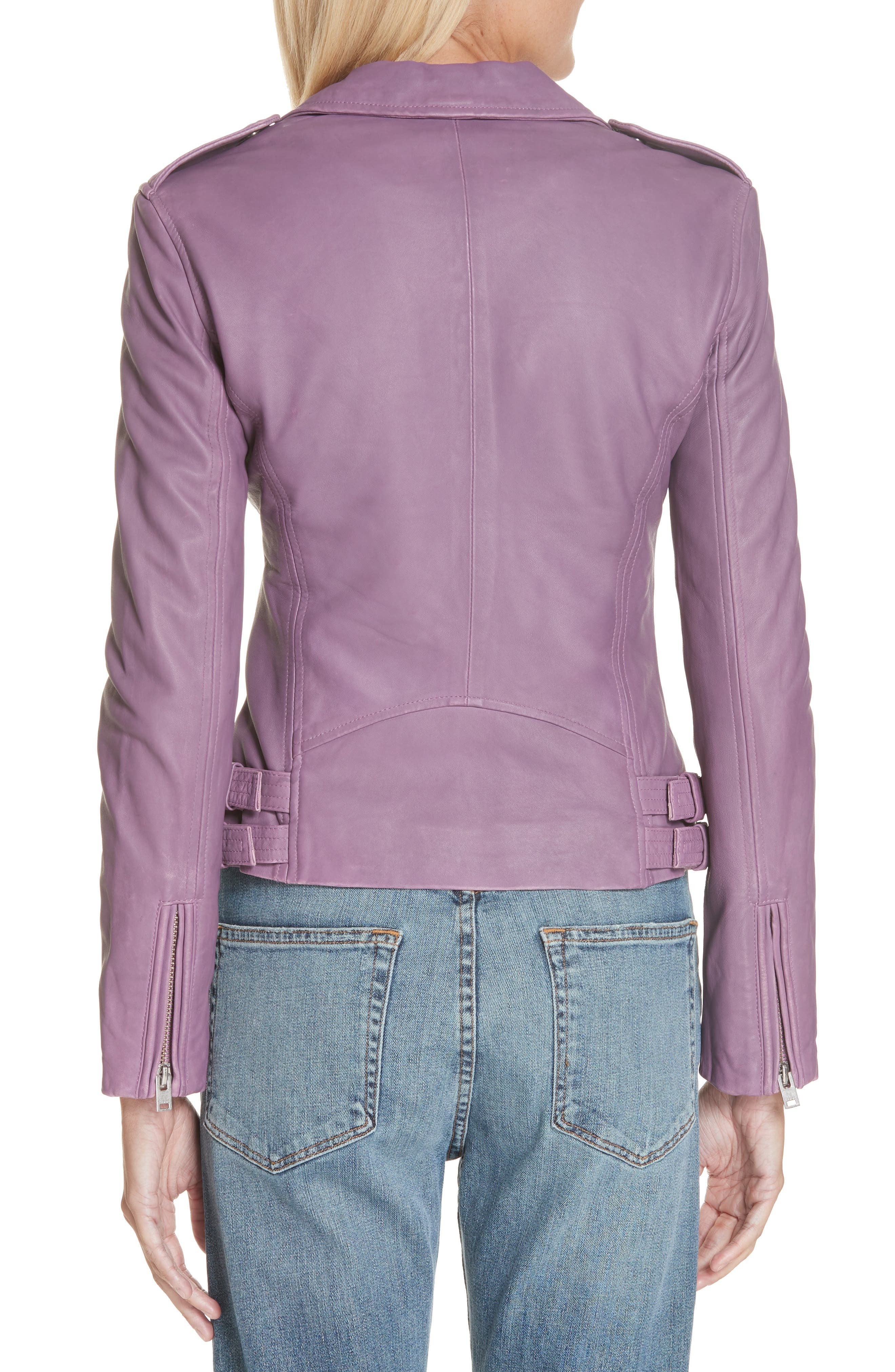 Leather Moto Jacket,                             Alternate thumbnail 2, color,                             DUSTY PINK