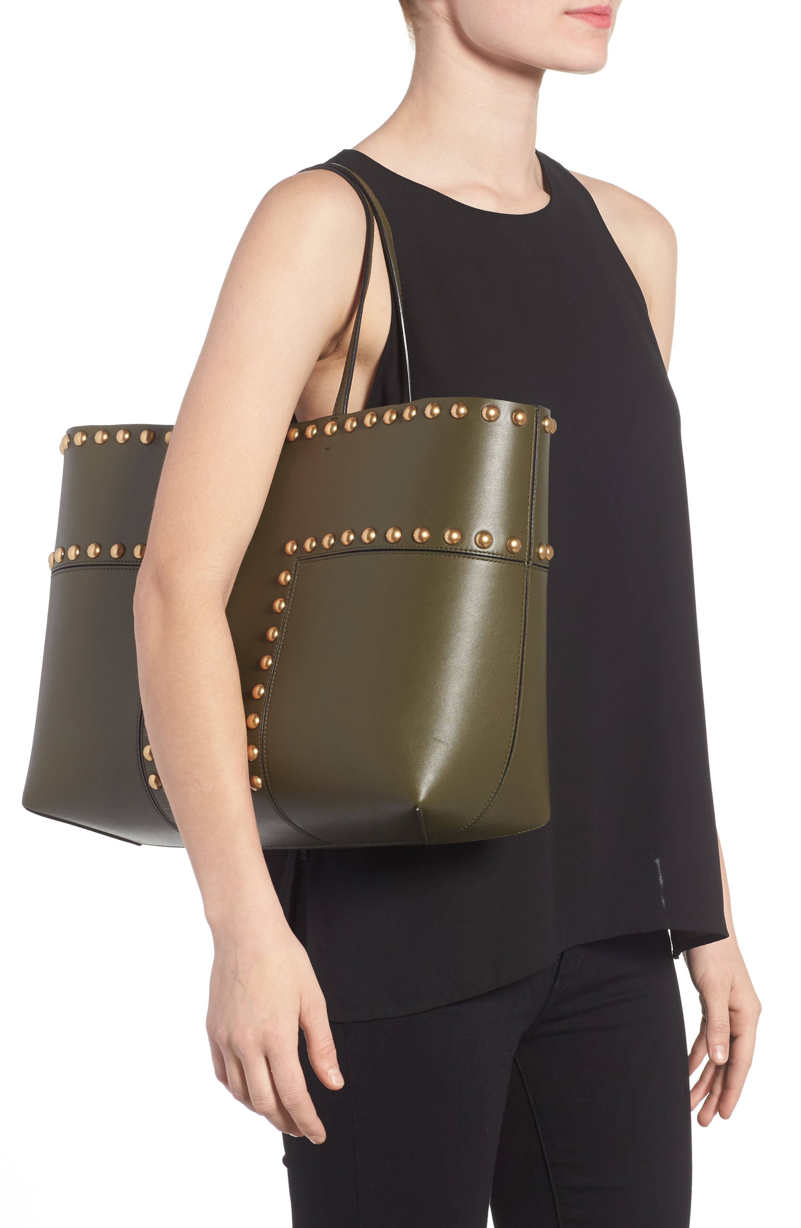 Block-T Studded Leather Tote,                             Alternate thumbnail 2, color,                             300
