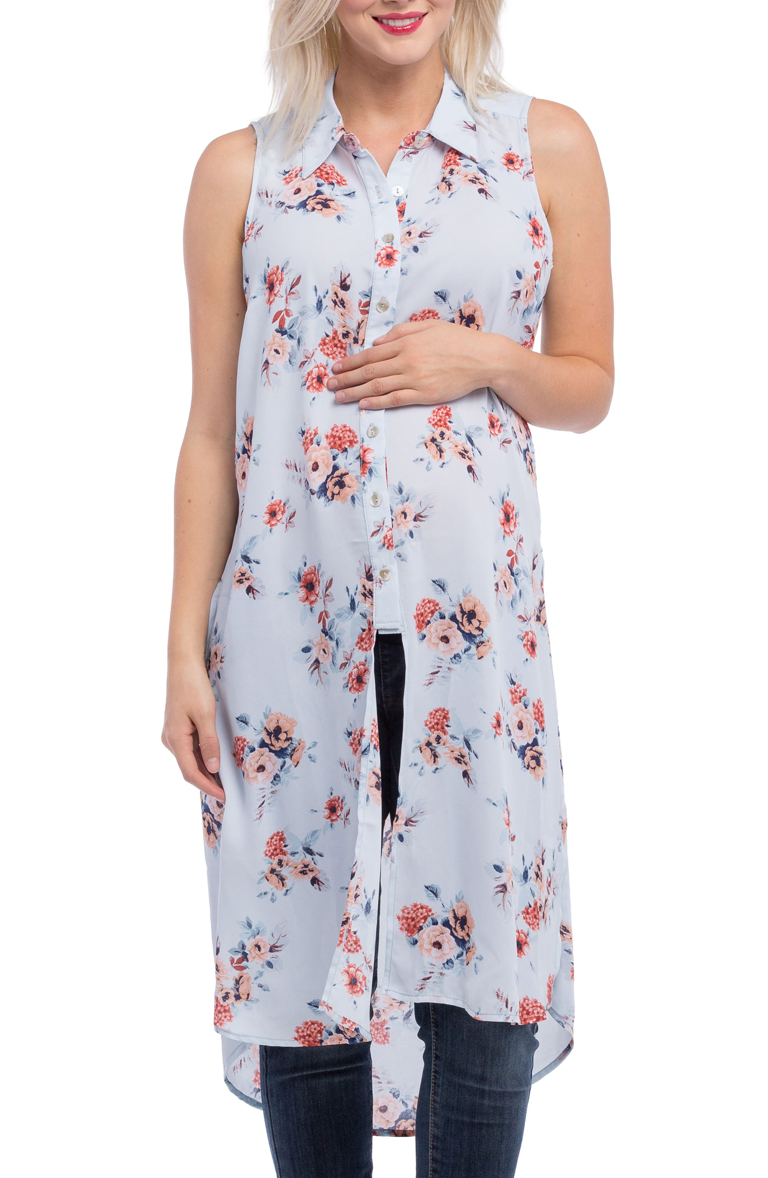 Print Maternity Tunic,                         Main,                         color, SKY FLORAL PRINT