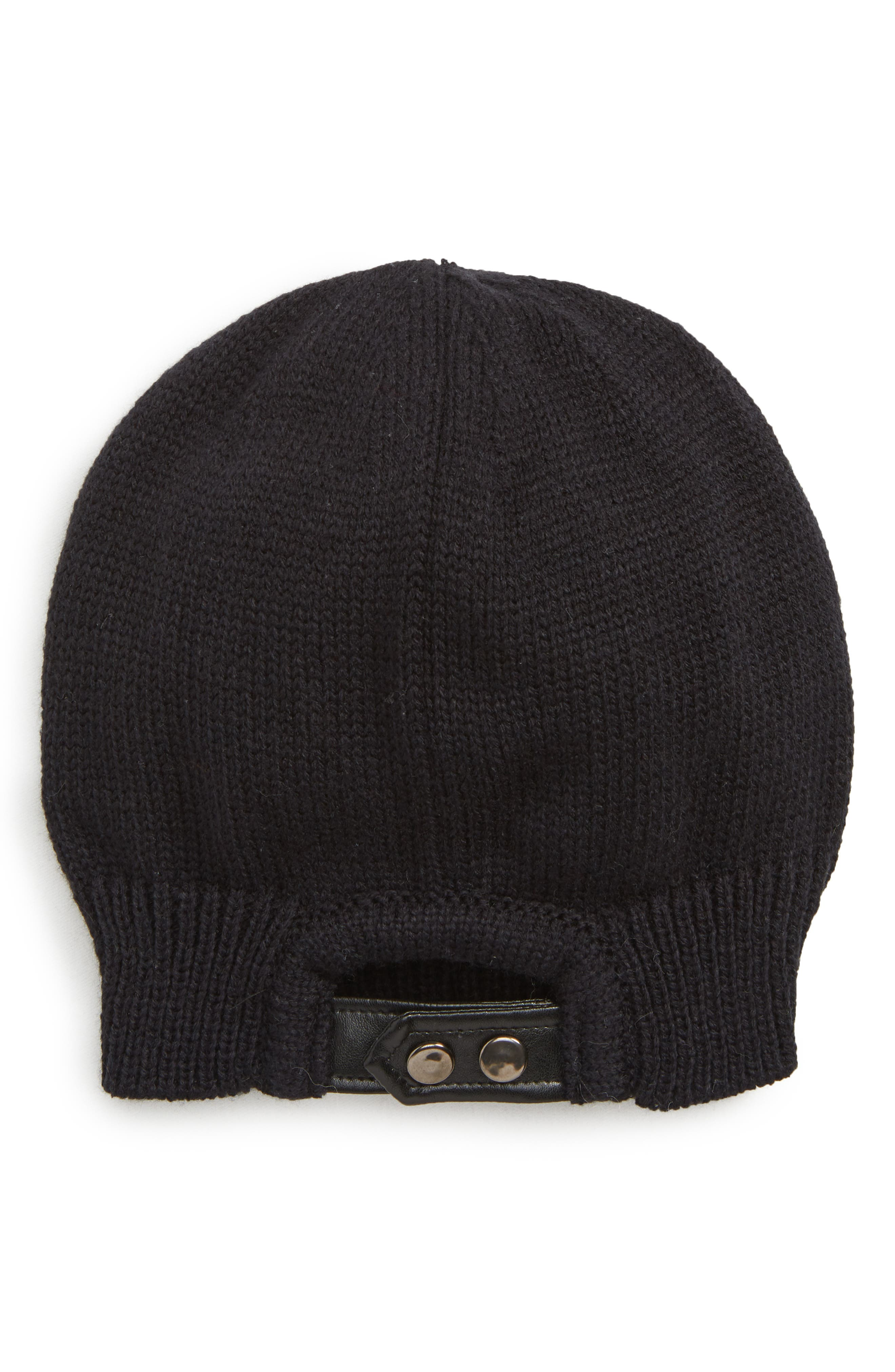 Snap Band Beanie,                             Alternate thumbnail 2, color,                             BLACK