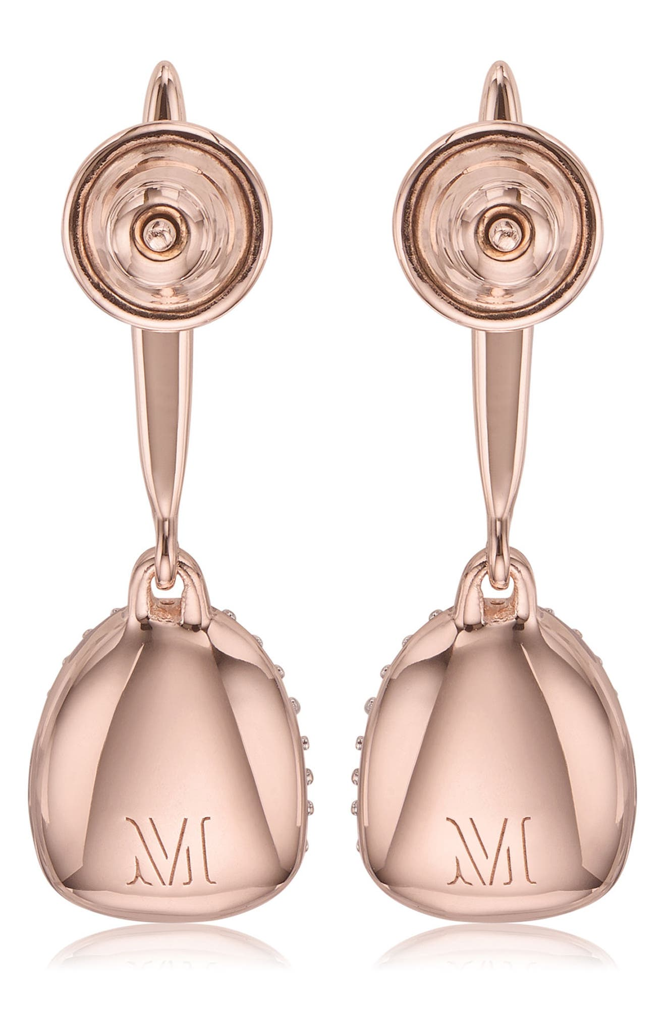 Nura Small Diamond Pebble Drop Earrings,                             Alternate thumbnail 3, color,                             ROSE GOLD