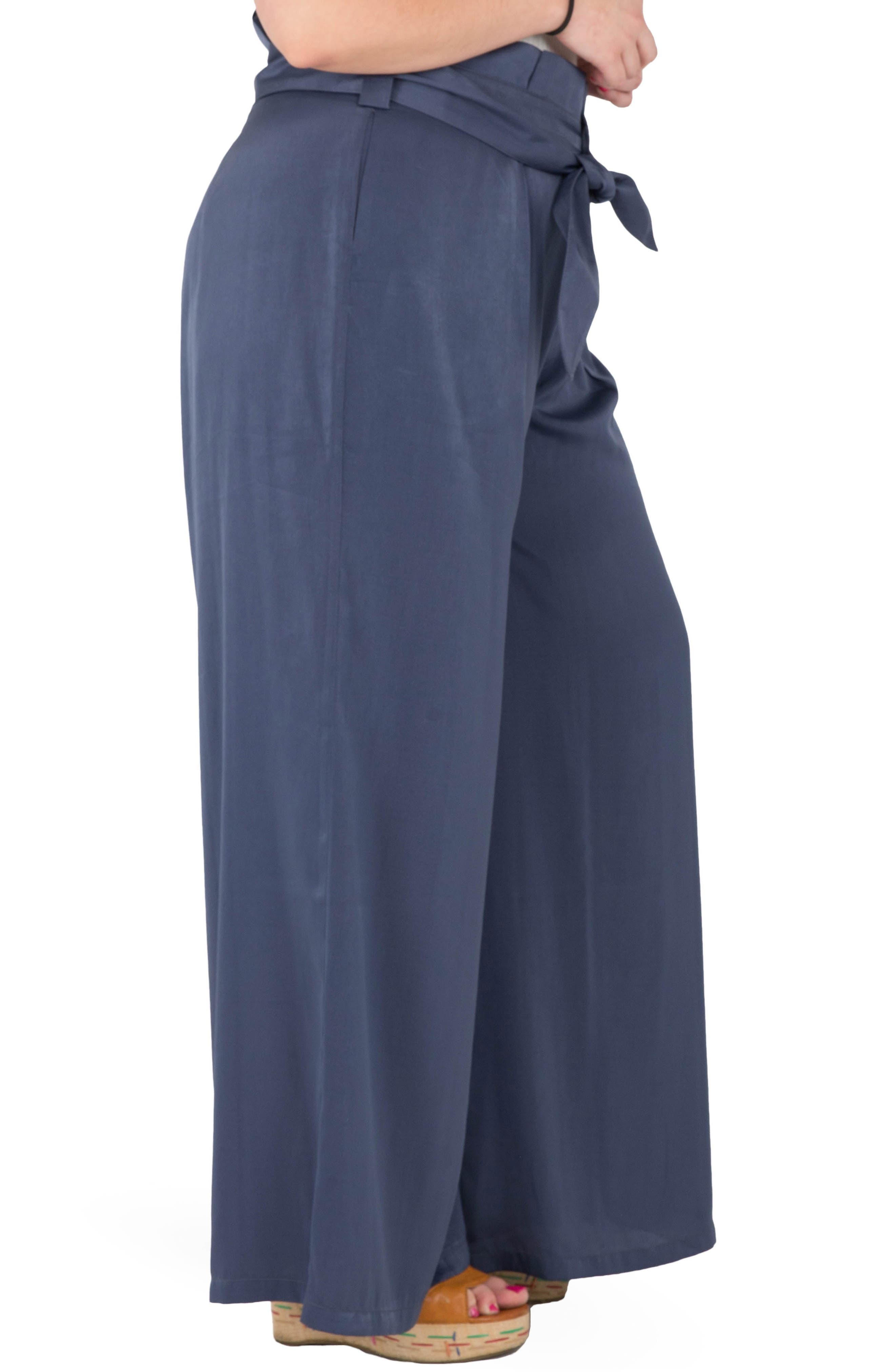 Sue Wide Leg Pants,                             Alternate thumbnail 3, color,                             NAVY