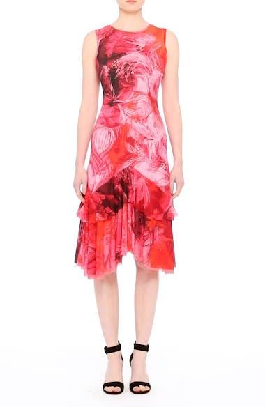 Print Tulle Ruffle Hem Dress, video thumbnail