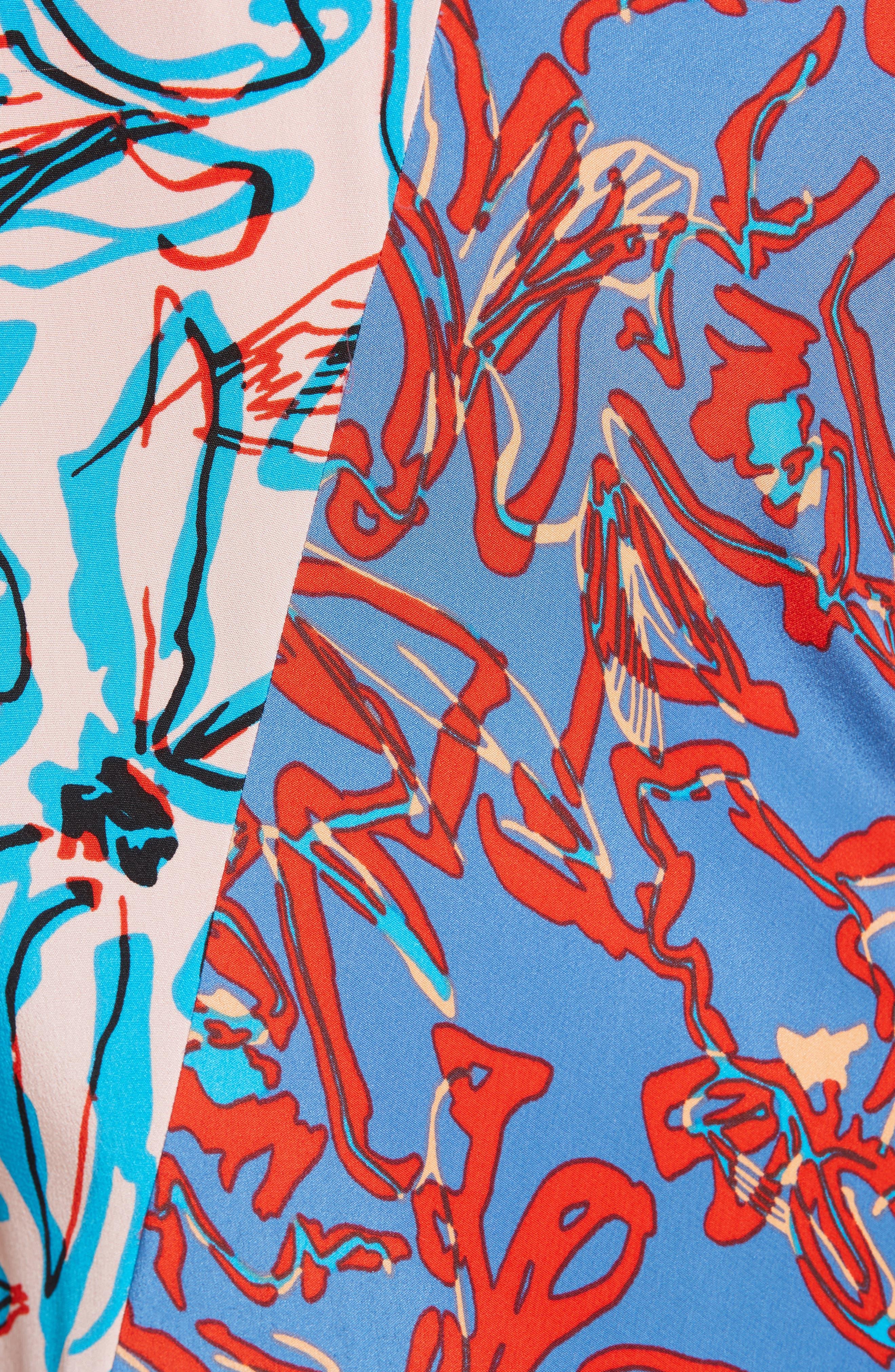 Asymmetrical Mixed Print Silk Maxi Dress,                             Alternate thumbnail 5, color,                             100
