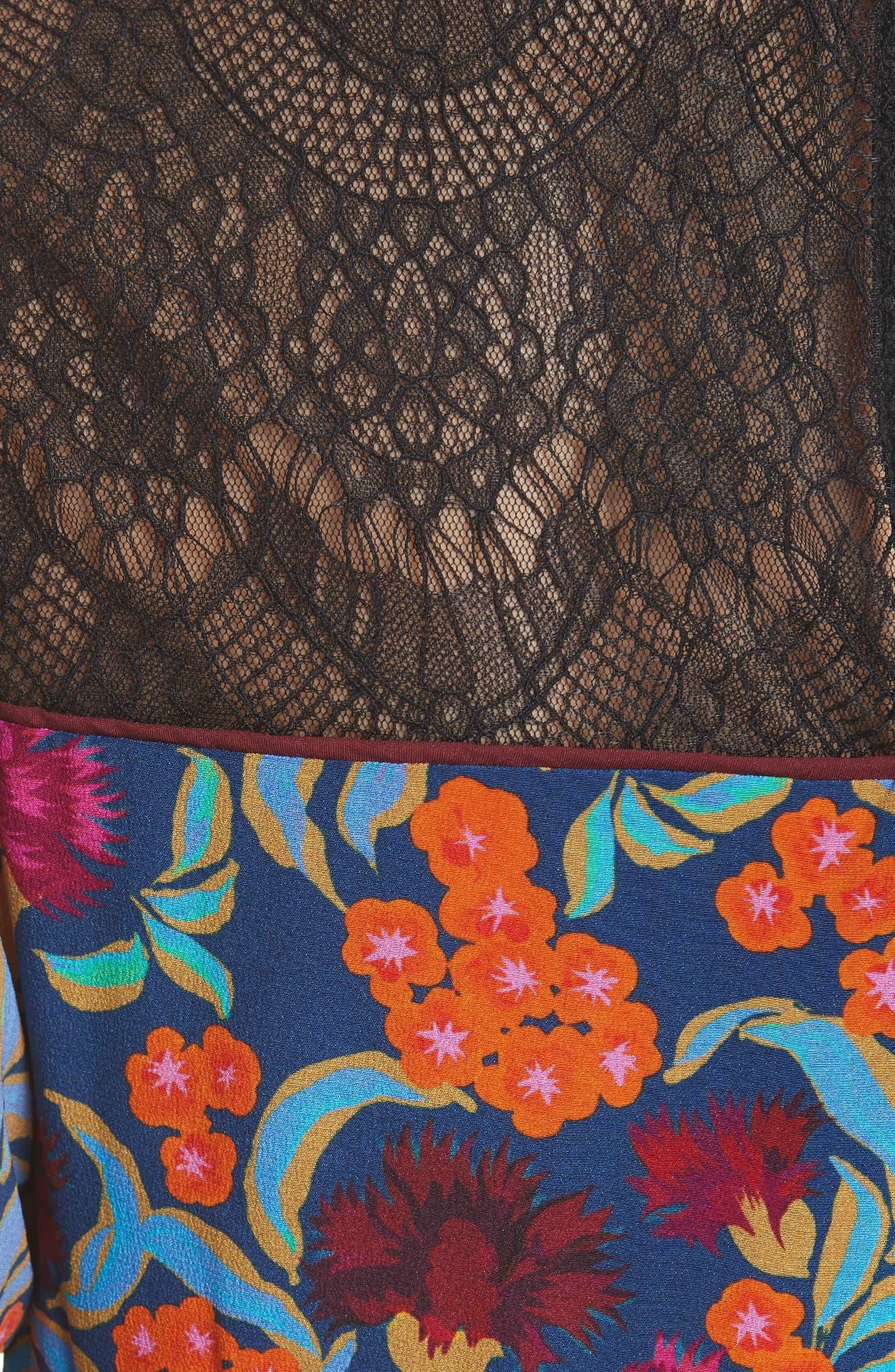 Dina Lace Inset Floral Print Dress,                             Alternate thumbnail 6, color,                             TROPICAL HYDRANGEA
