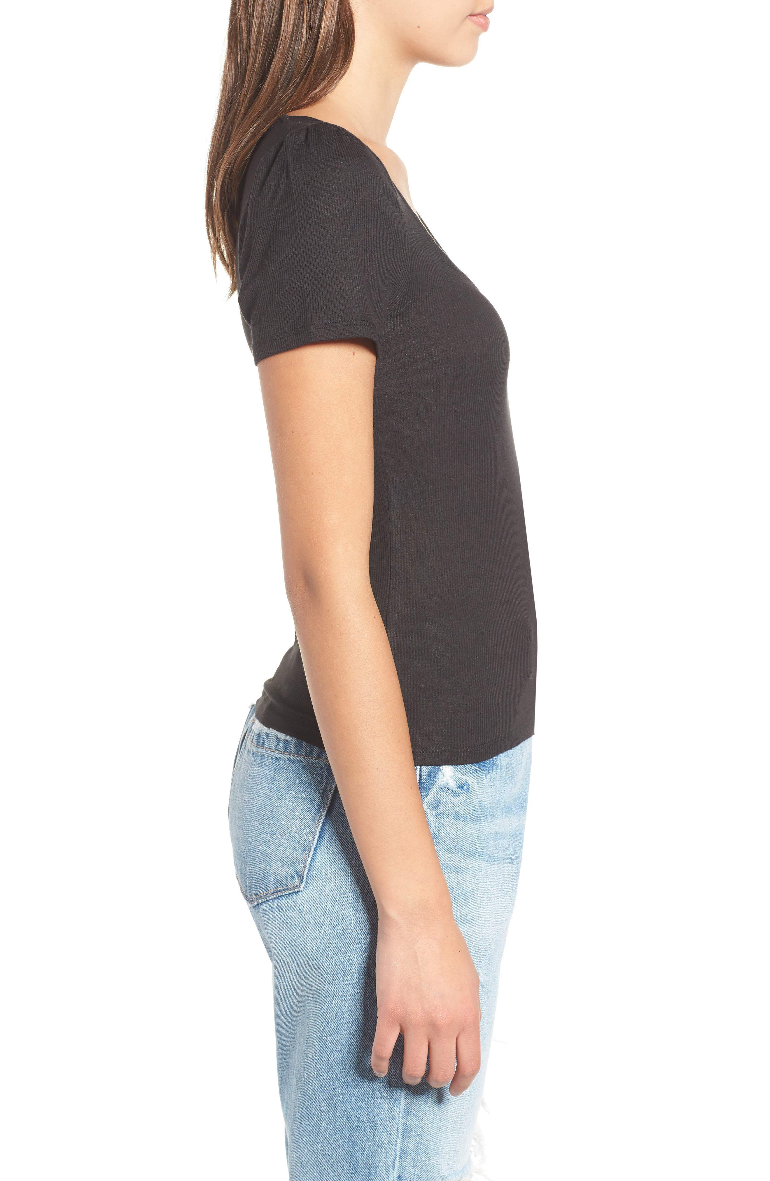 PROJECT SOCIAL T,                             PST by Project Social T Femme Ribbed Tee,                             Alternate thumbnail 3, color,                             001