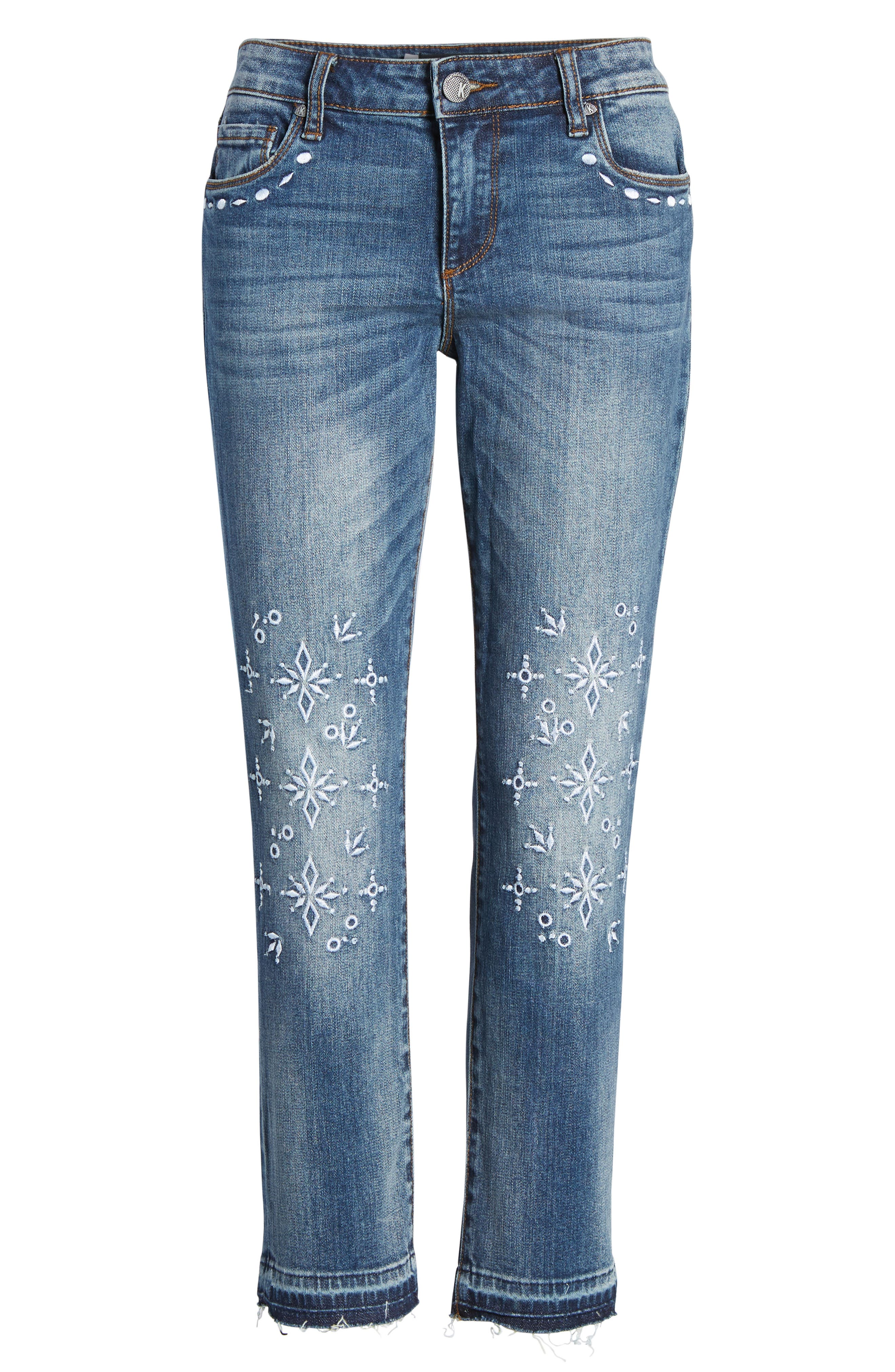 Reese Release Hem Embroidered Jeans,                             Alternate thumbnail 7, color,                             400