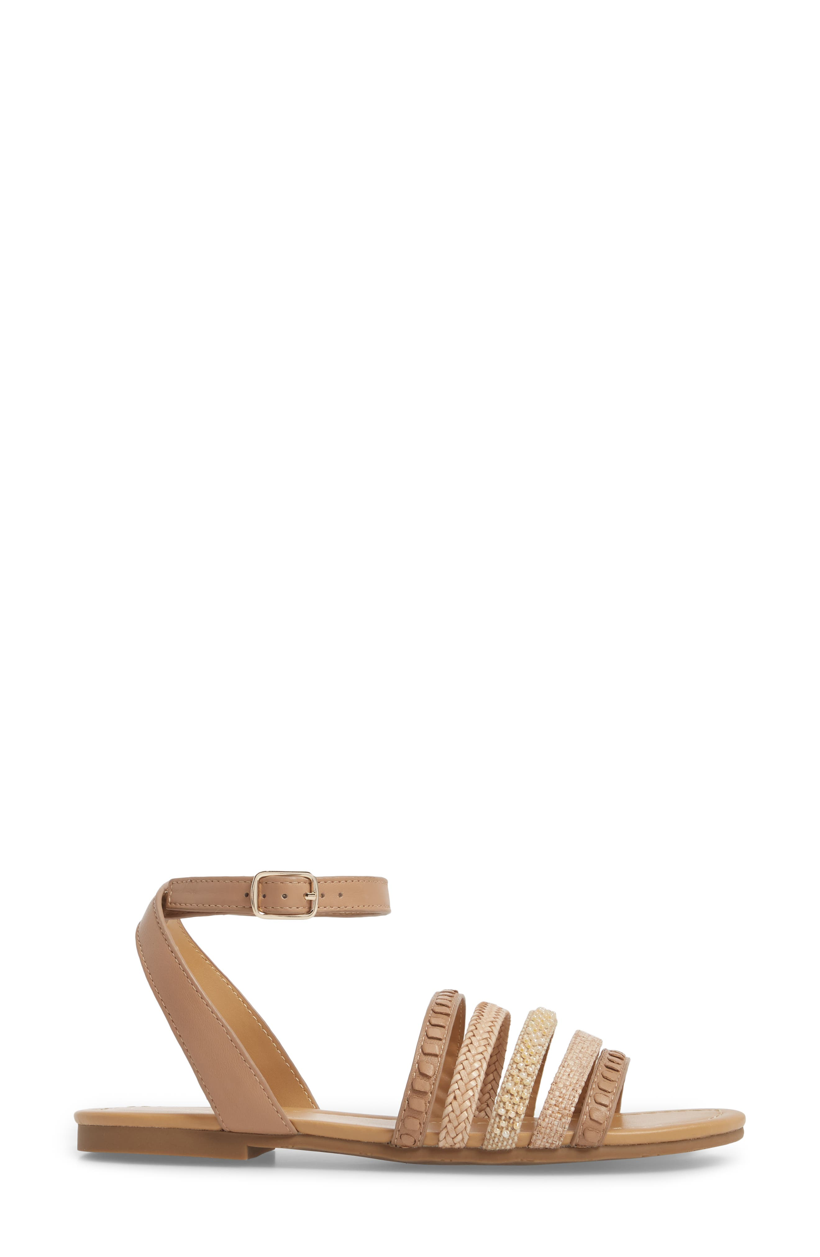 Hannah Braided Embellished Sandal,                             Alternate thumbnail 3, color,                             BUFF LEATHER