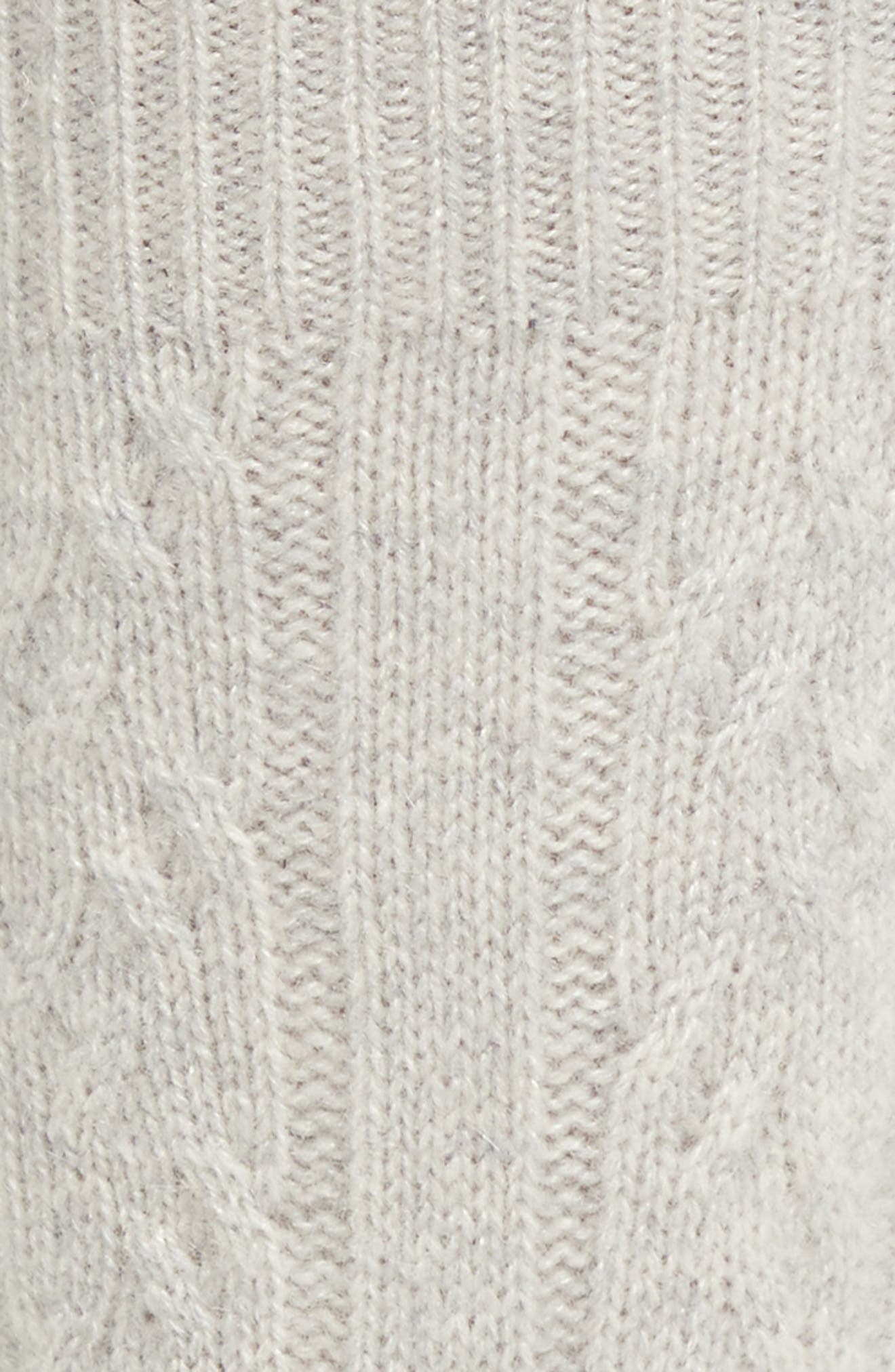 Cable Knit Cashmere Crew Socks,                             Alternate thumbnail 2, color,                             GREY HEATHER