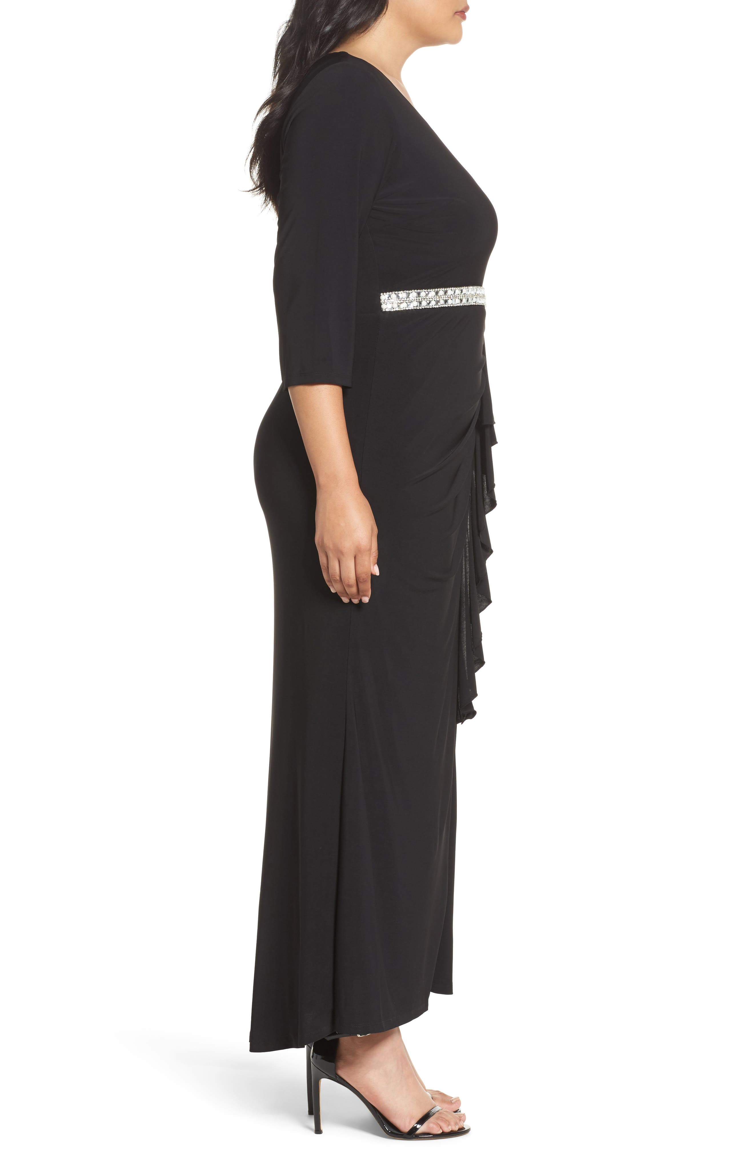 Embellished A-Line Jersey Gown,                             Alternate thumbnail 3, color,                             BLACK