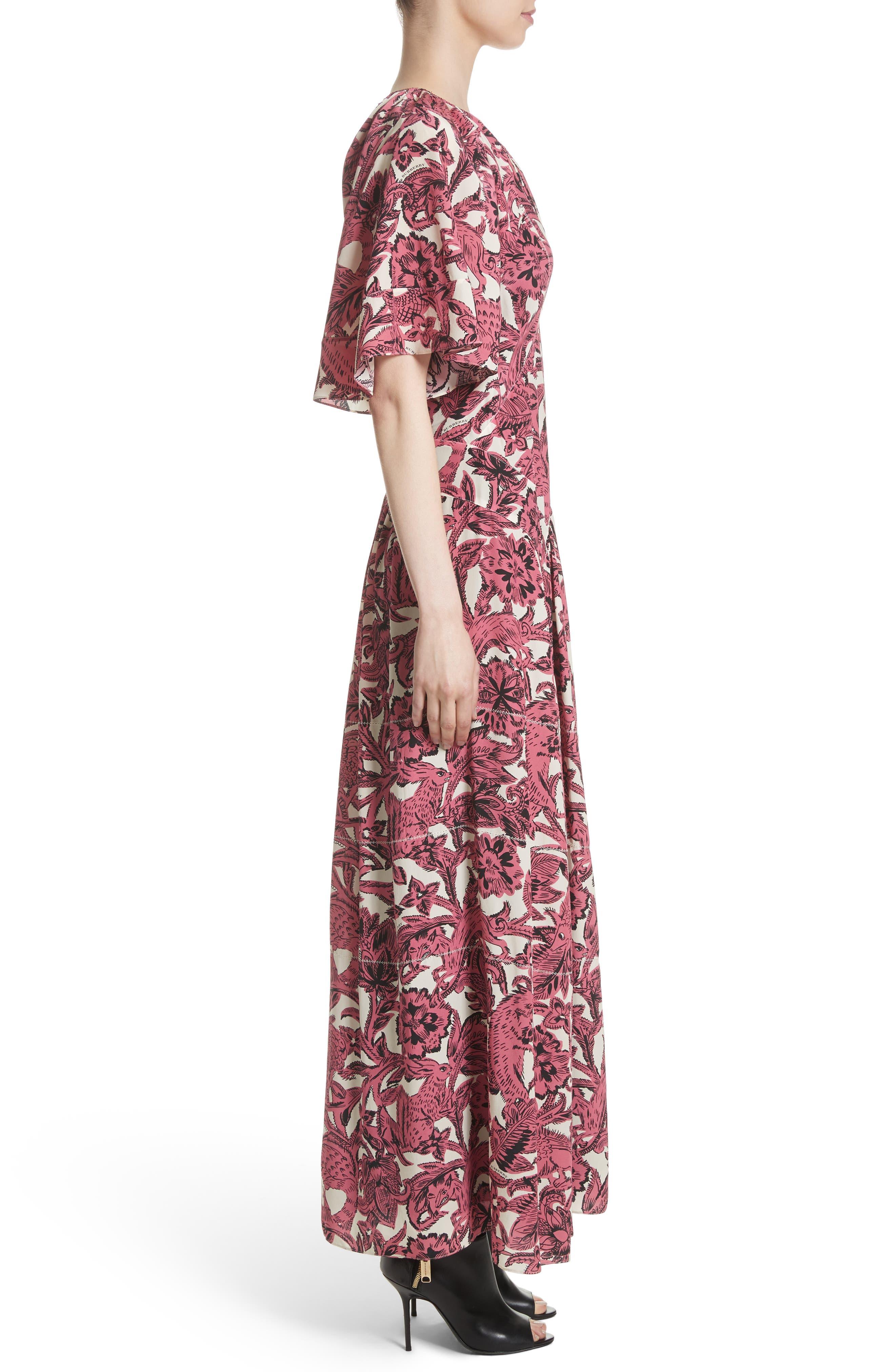 Hallie Silk Dress,                             Alternate thumbnail 3, color,                             650