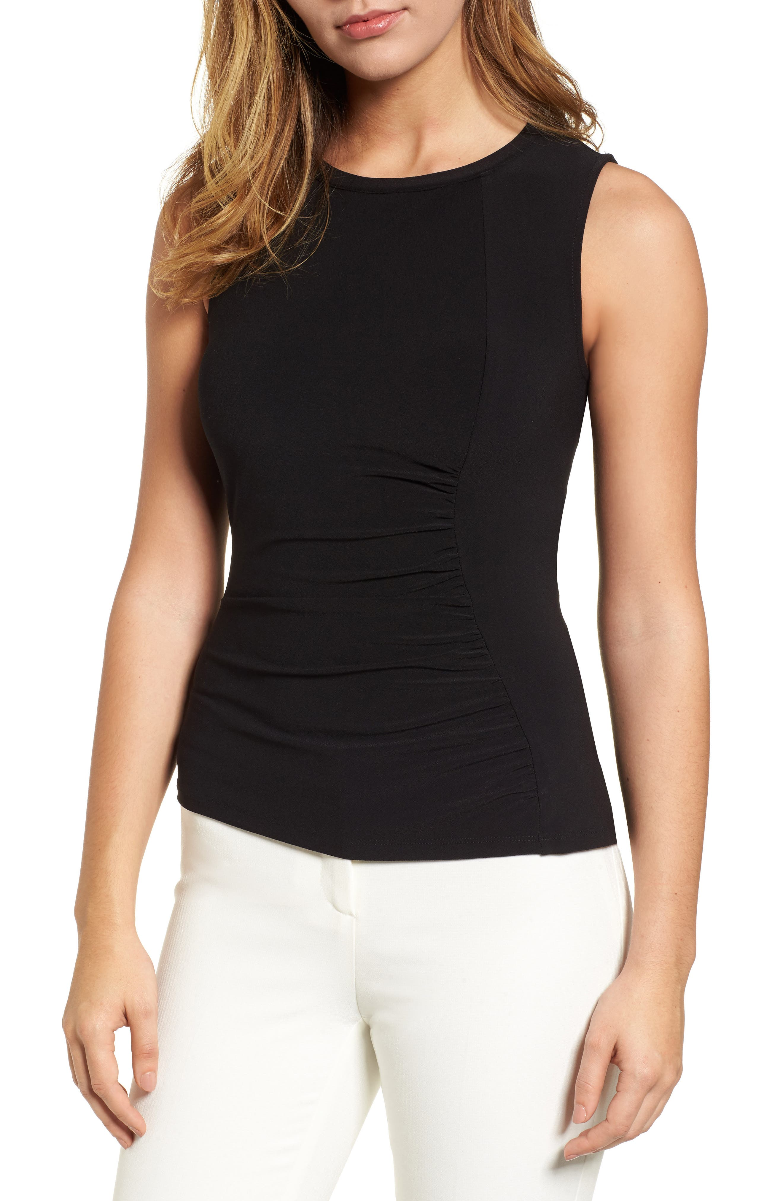 Ann Klein Side Ruched Knit Tank,                             Main thumbnail 1, color,                             001