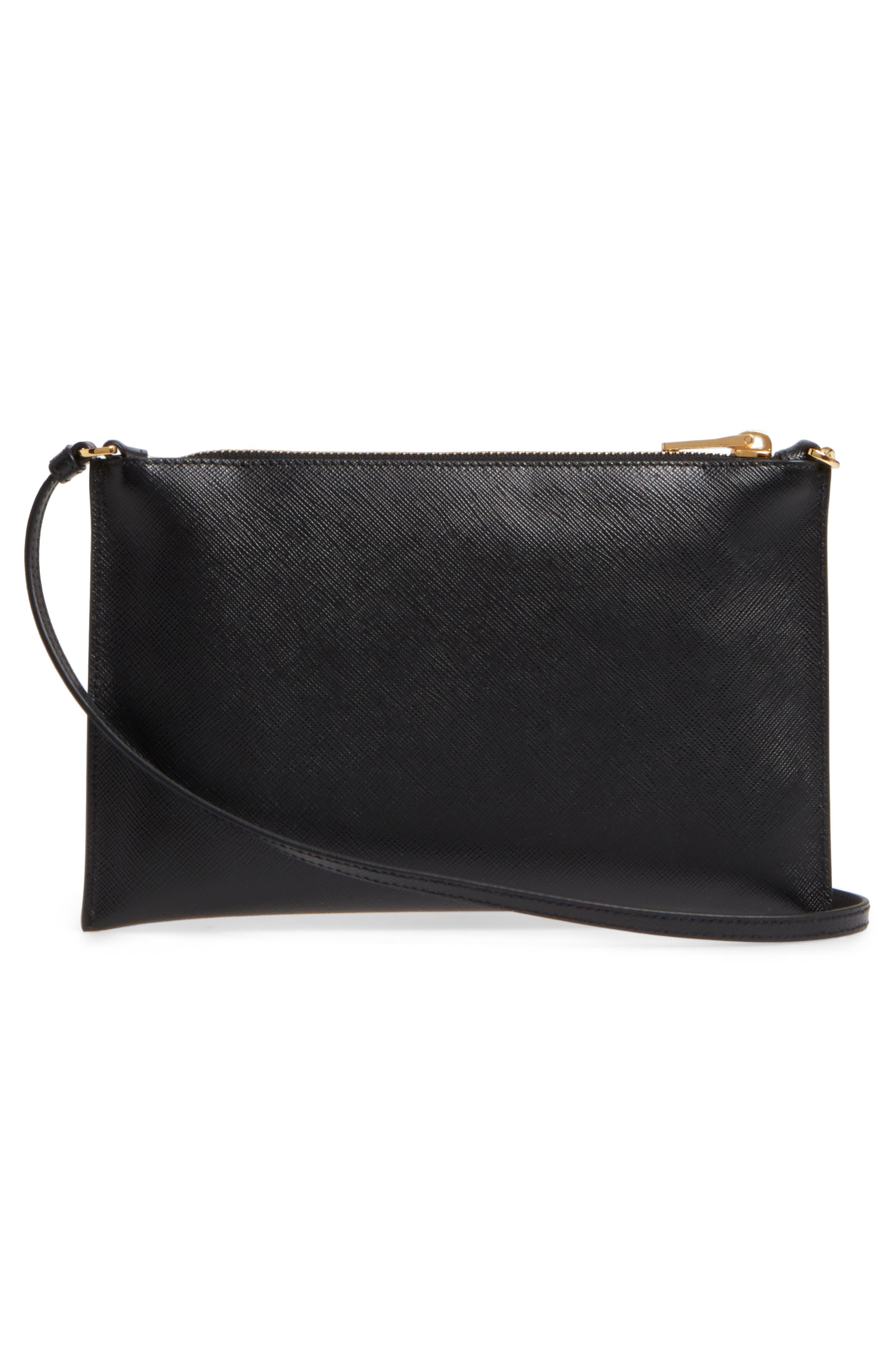 Small Saffiano Leather Shoulder Bag,                             Alternate thumbnail 3, color,                             F0002 NERO