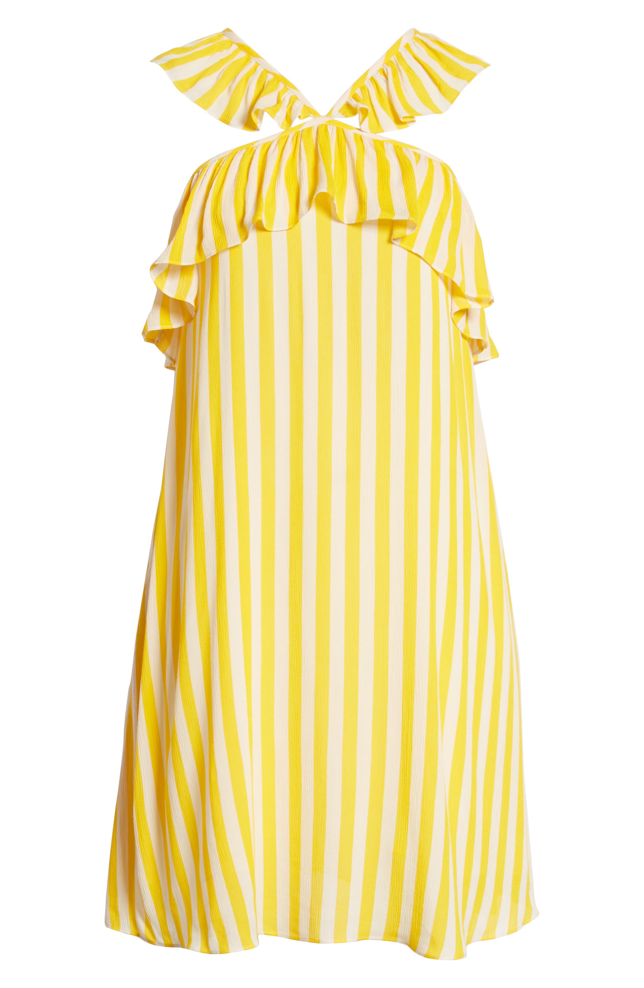 Tinsley Halter Dress,                             Alternate thumbnail 7, color,                             YELLOW STRIPE