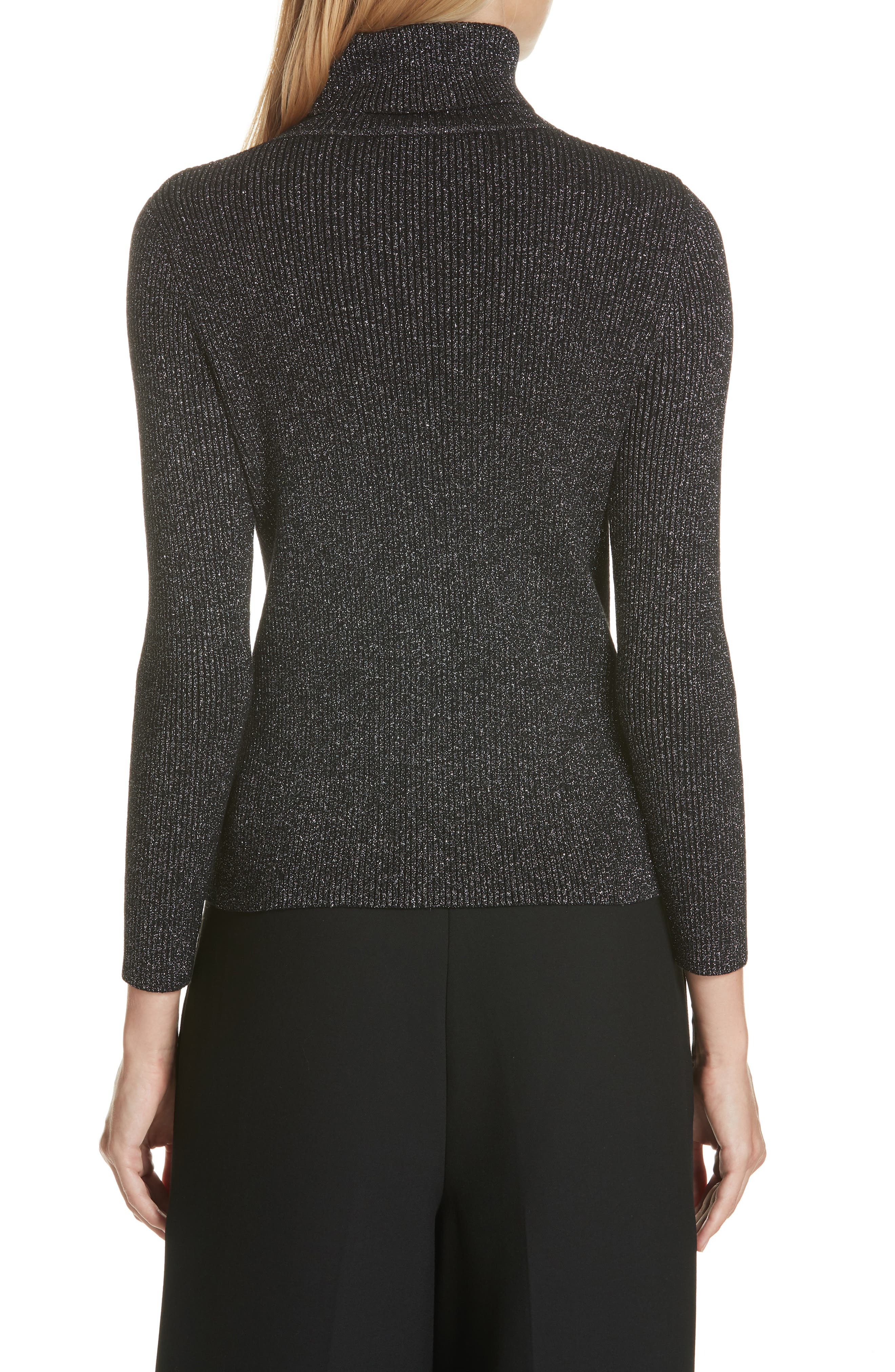 Metallic Ribbed Turtleneck Sweater,                             Alternate thumbnail 2, color,                             BLACK/ SILVER