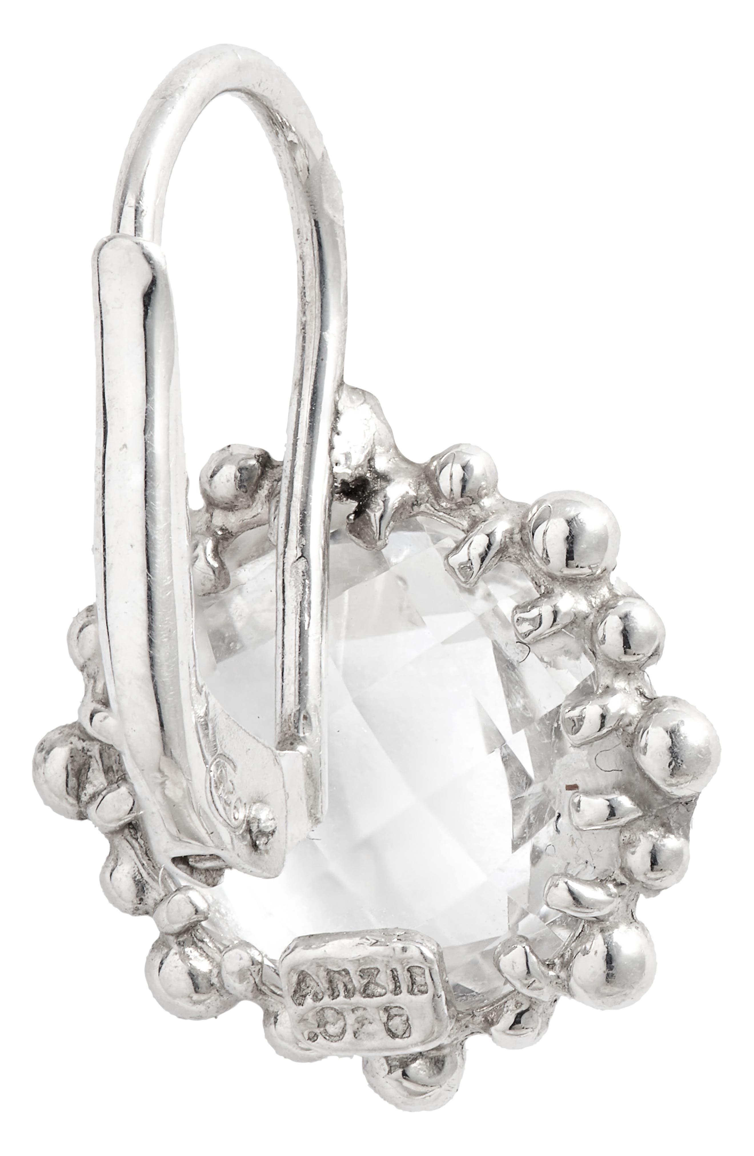 ANZIE,                             Dew Drop Snowflake White Topaz Drop Earrings,                             Alternate thumbnail 3, color,                             SILVER