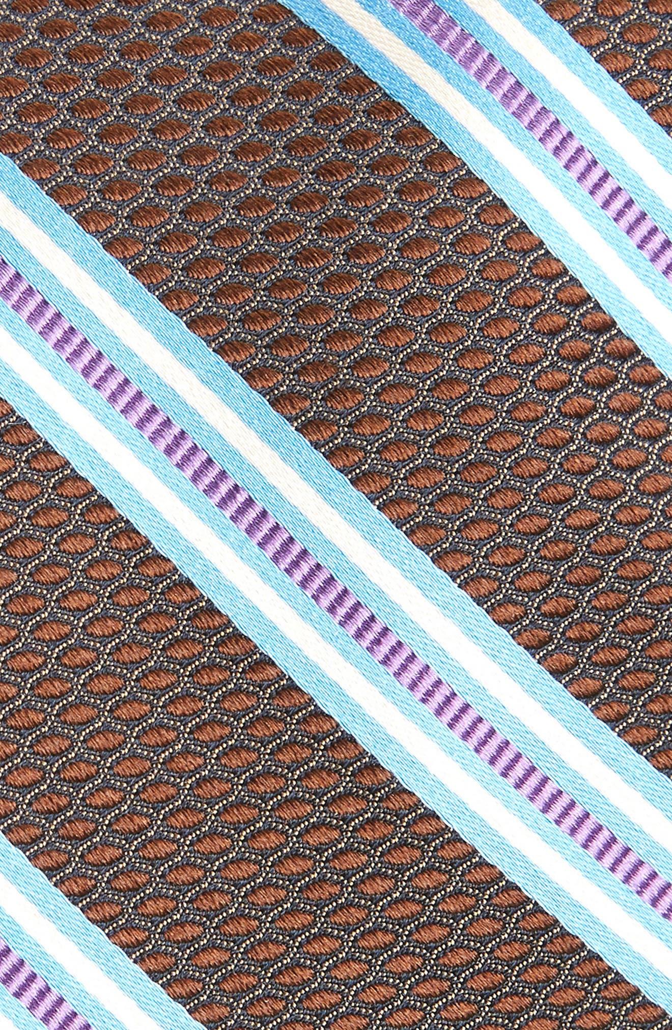 Stripe Silk Tie,                             Alternate thumbnail 2, color,                             BROWN