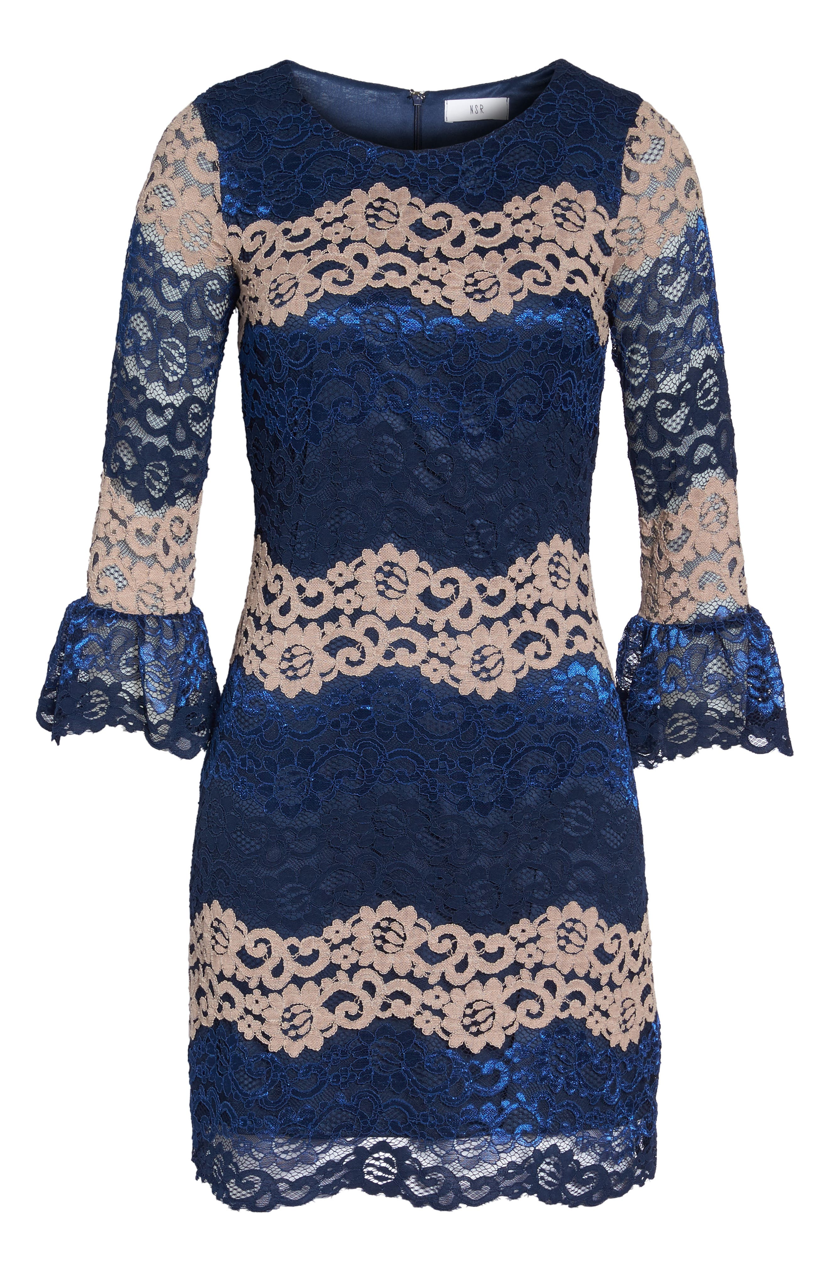 Lace Bell Sleeve Dress,                             Alternate thumbnail 22, color,