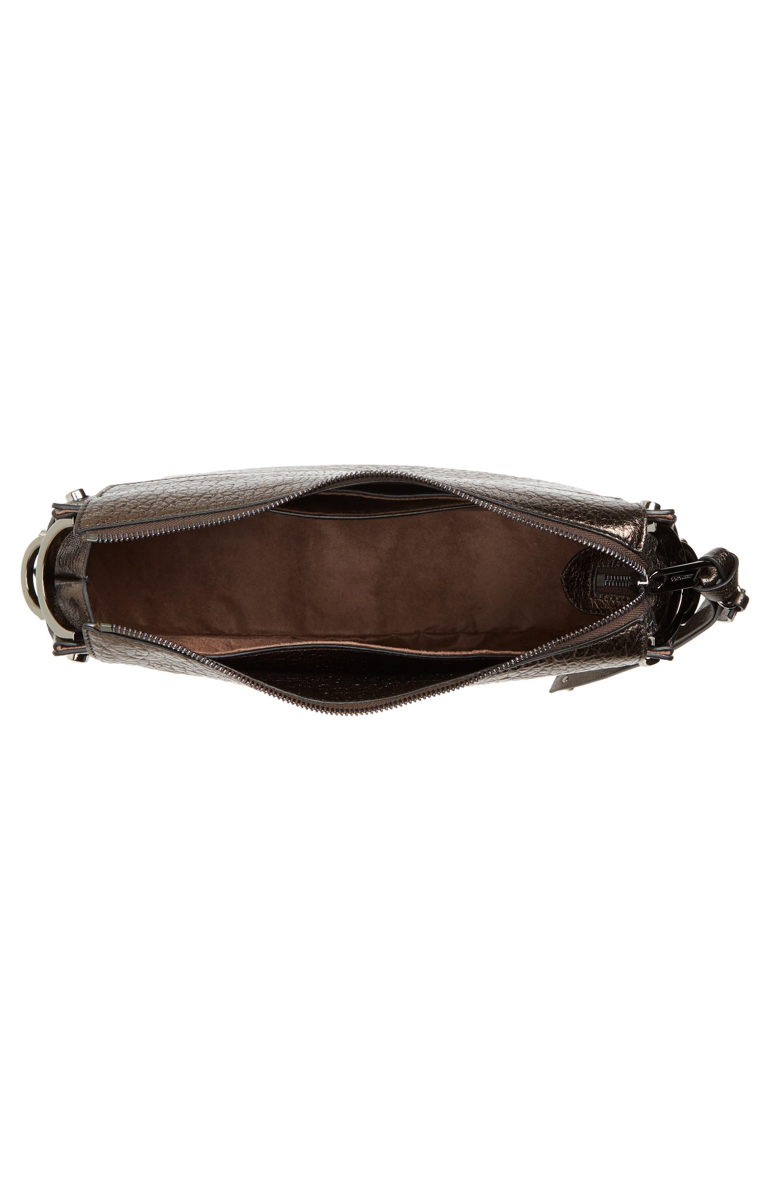 Artie Metallic Leather Hobo Bag,                             Alternate thumbnail 4, color,                             200