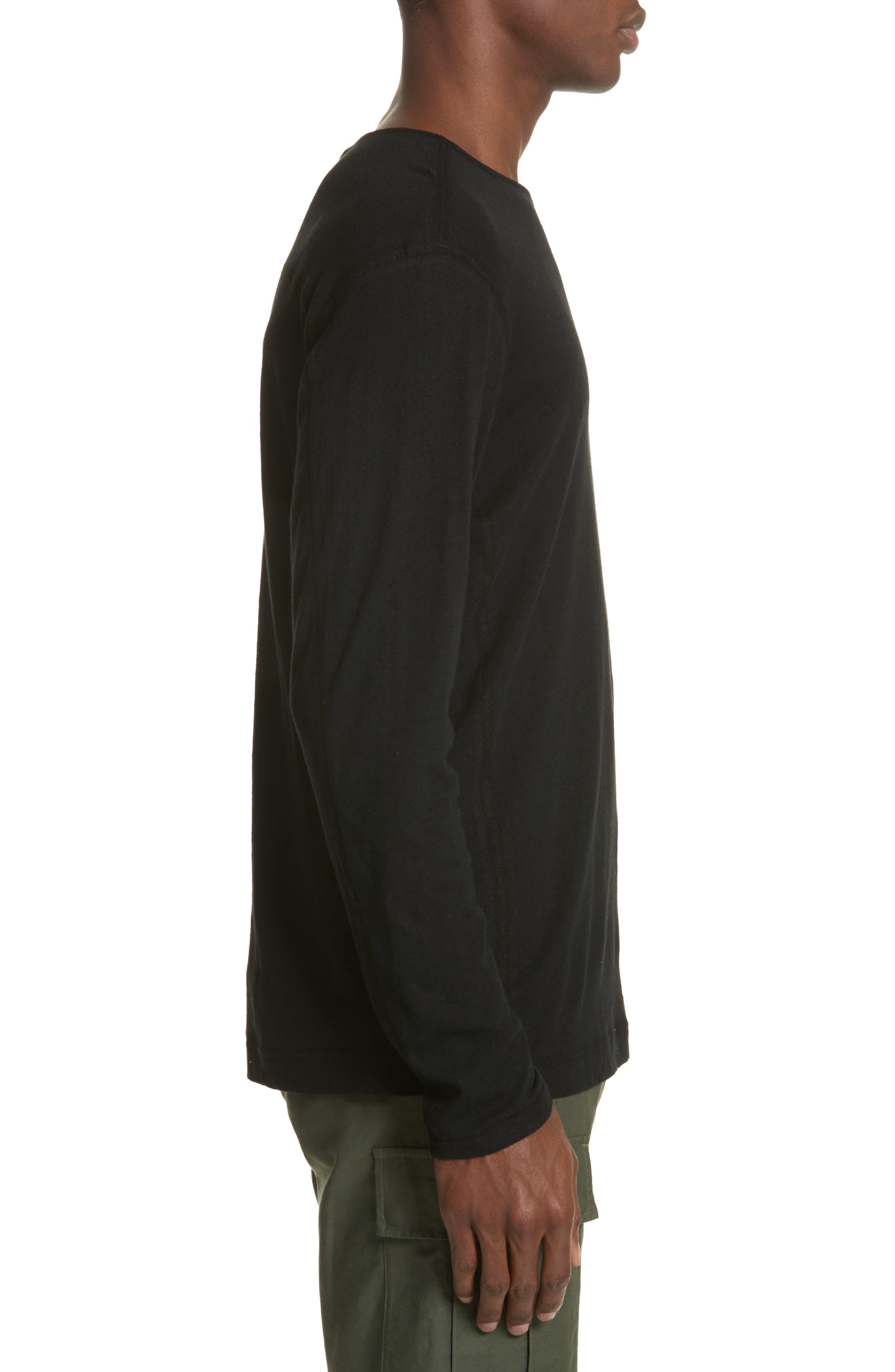 Linen Blend Jersey Long Sleeve T-Shirt,                             Alternate thumbnail 3, color,                             001