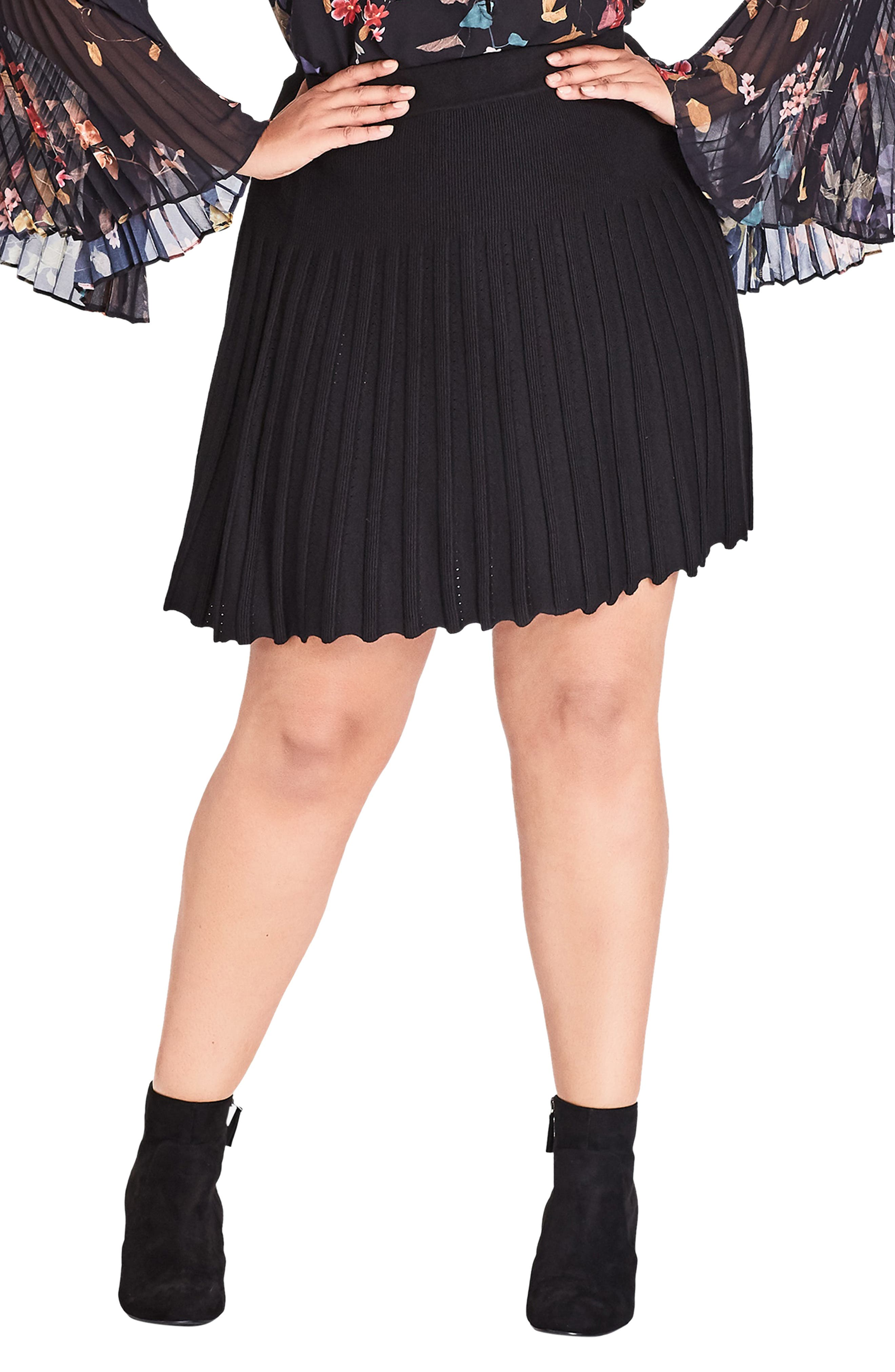 Pleated Knit Skirt,                         Main,                         color, BLACK