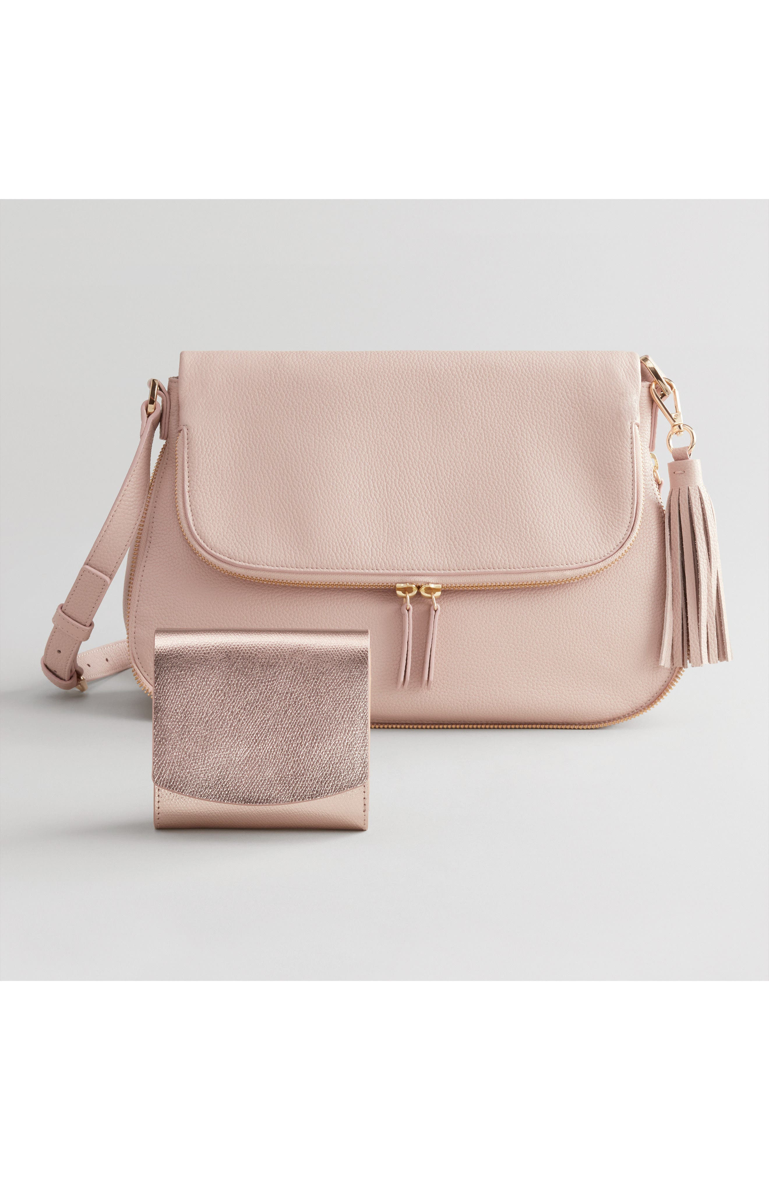 Kara Leather Expandable Crossbody Bag,                             Alternate thumbnail 8, color,                             PINK ROSECLOUD