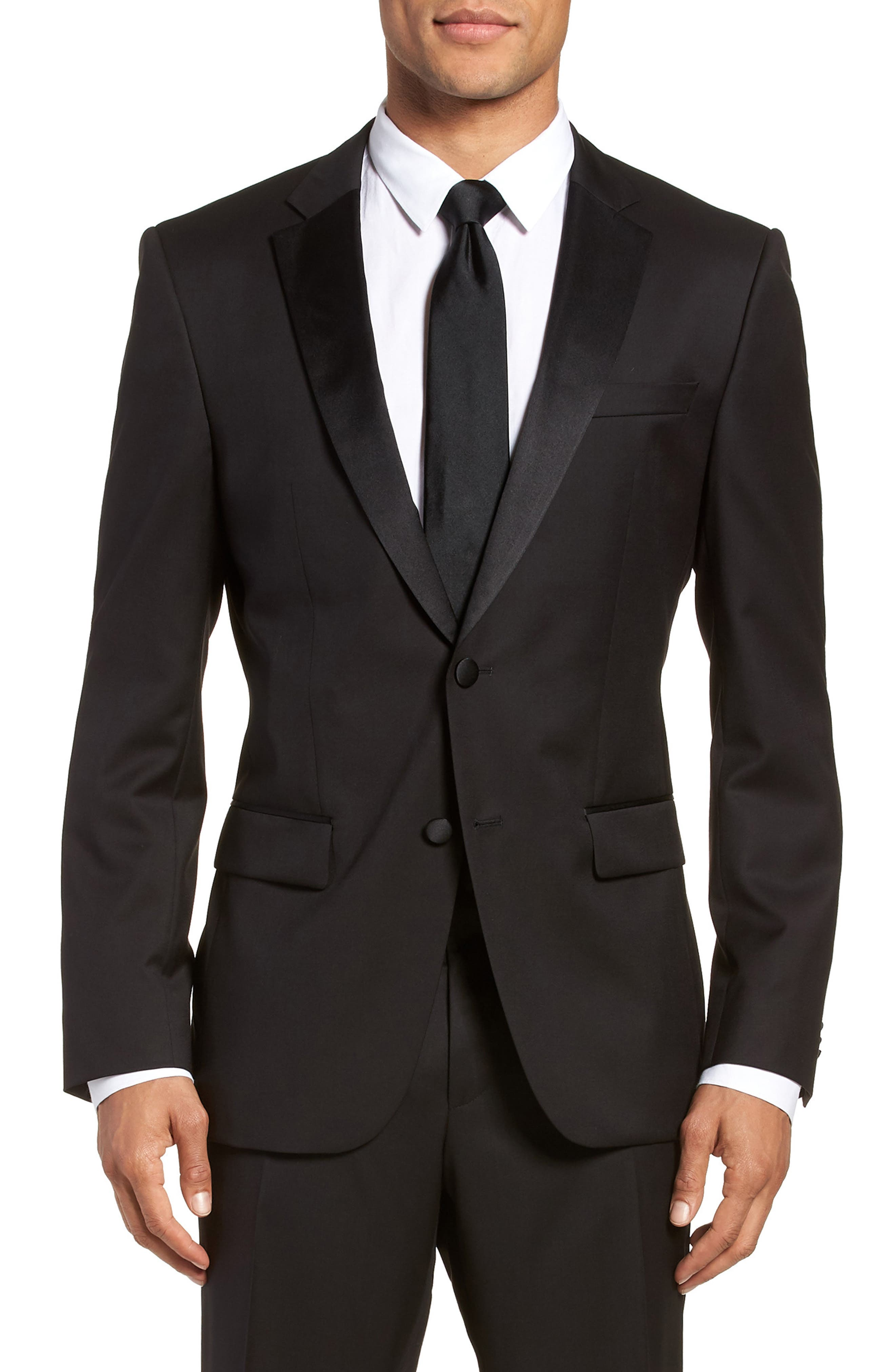 Hence CYL Trim Fit Wool Dinner Jacket,                             Main thumbnail 1, color,                             BLACK