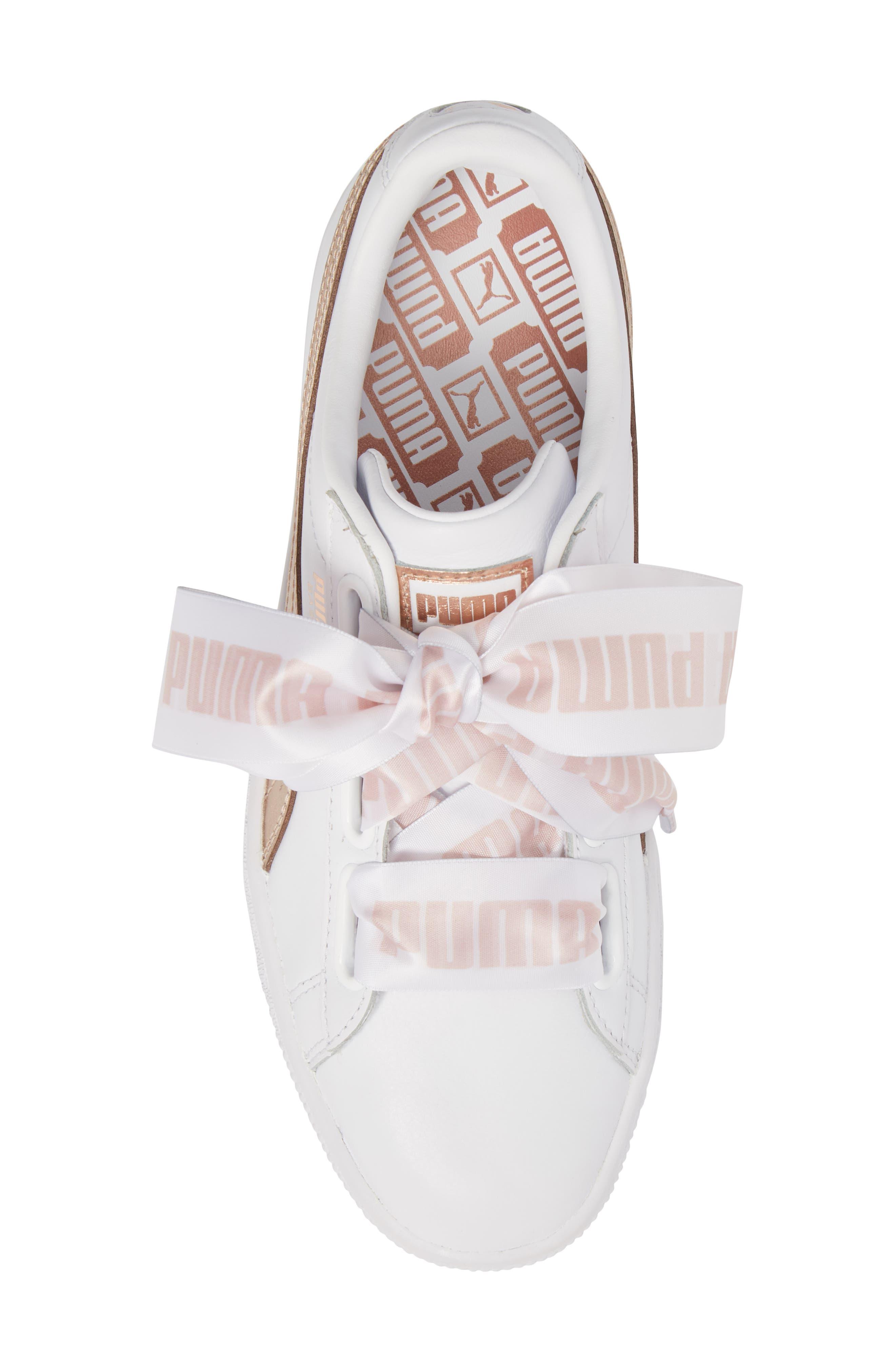Basket Heart Sneaker,                             Alternate thumbnail 5, color,                             WHITE/ ROSE GOLD LEATHER