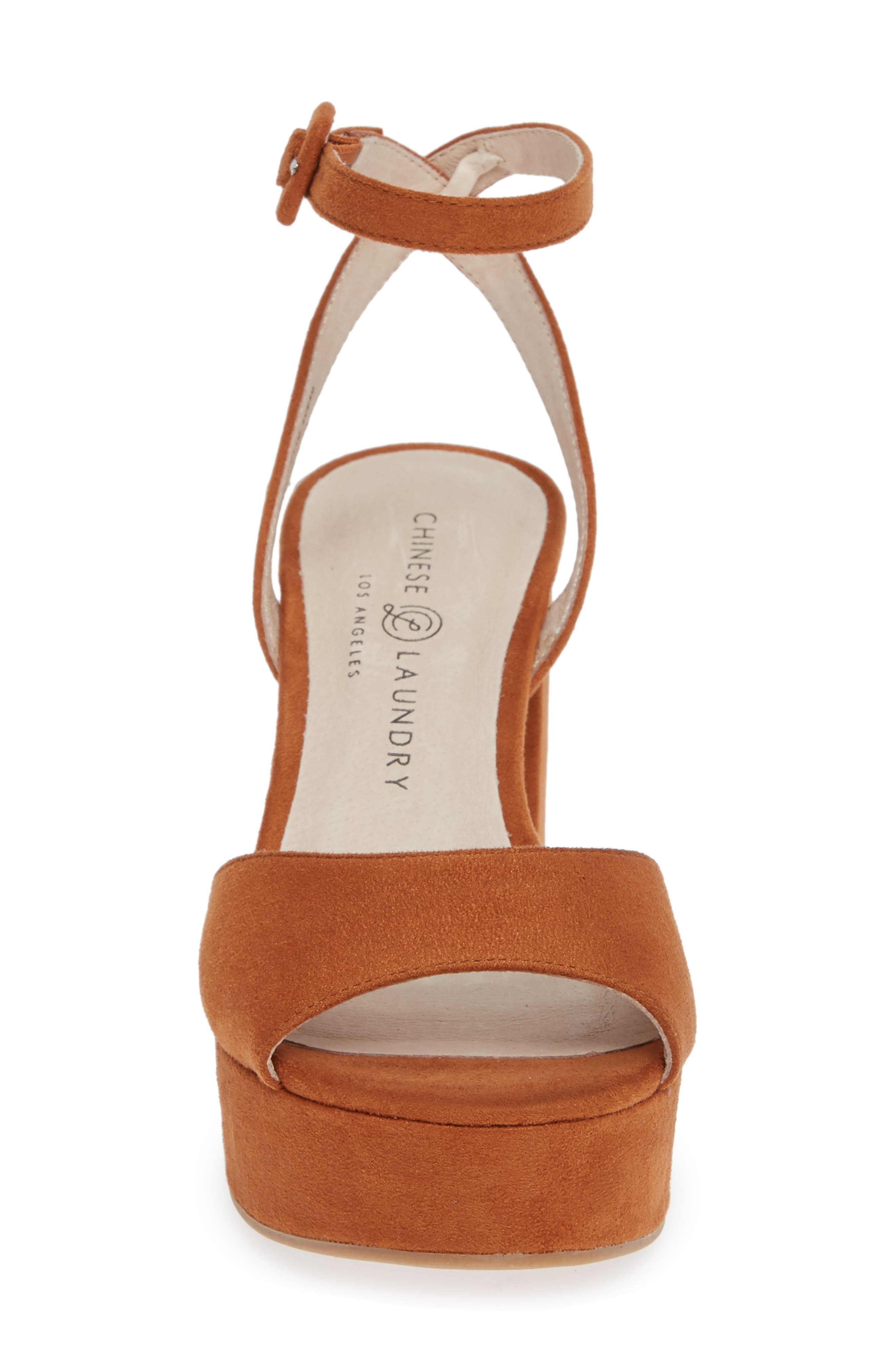 Theresa Platform Sandal,                             Alternate thumbnail 4, color,                             UMBER SUEDE