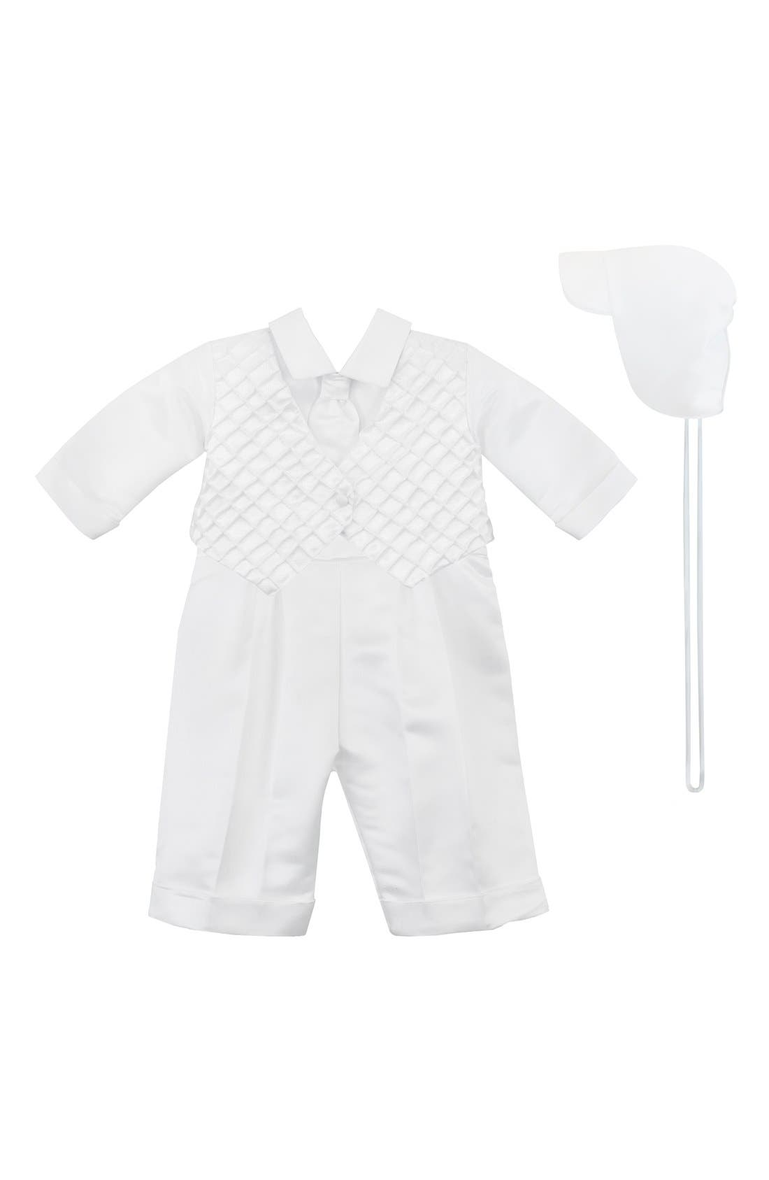 Christening Shirt, Pants & Hat,                             Main thumbnail 1, color,                             WHITE