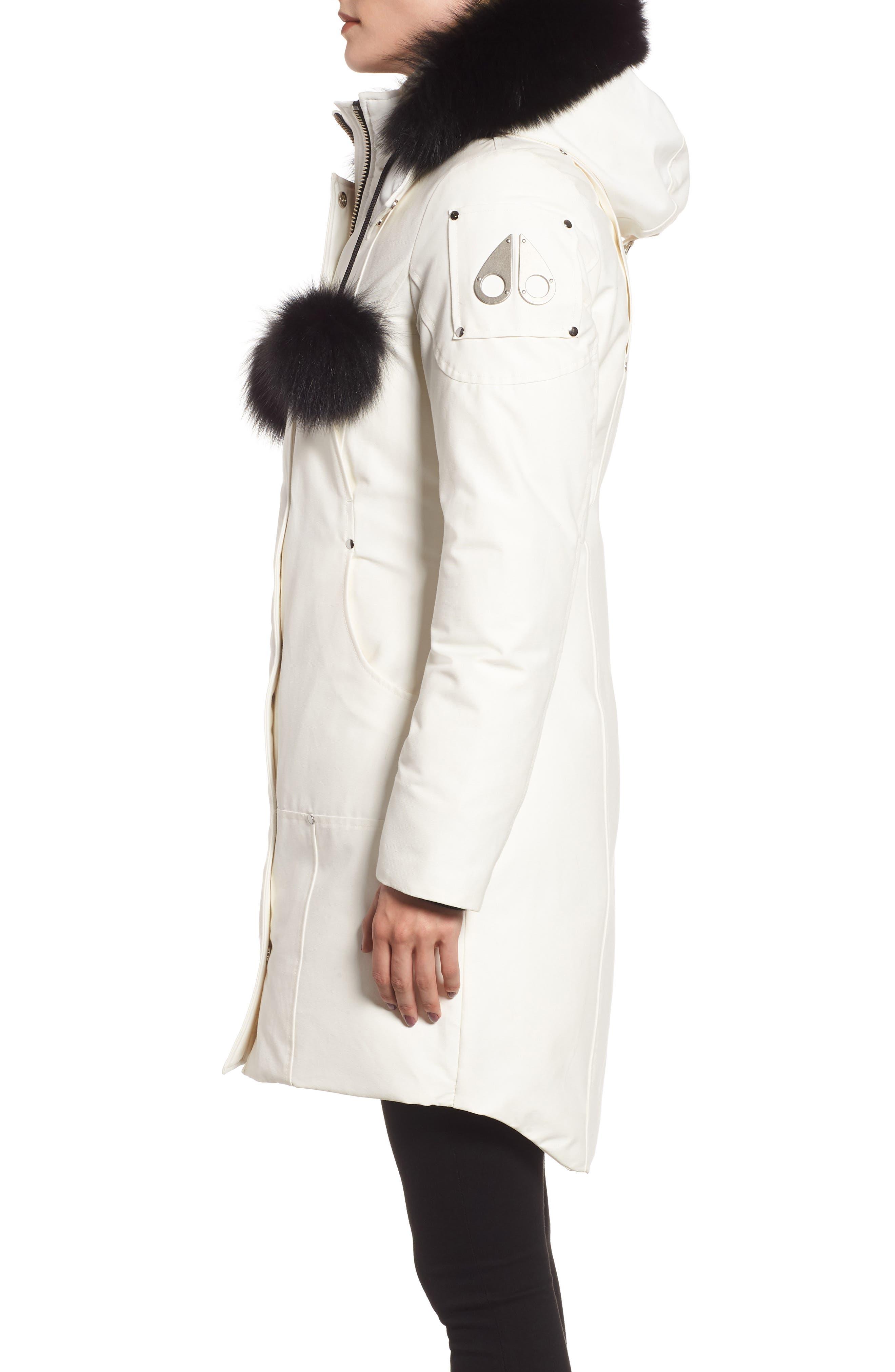 'Stirling' Down Parka with Genuine Fox Fur Trim,                             Alternate thumbnail 3, color,                             SNOW WHITE/ BLACK FOX