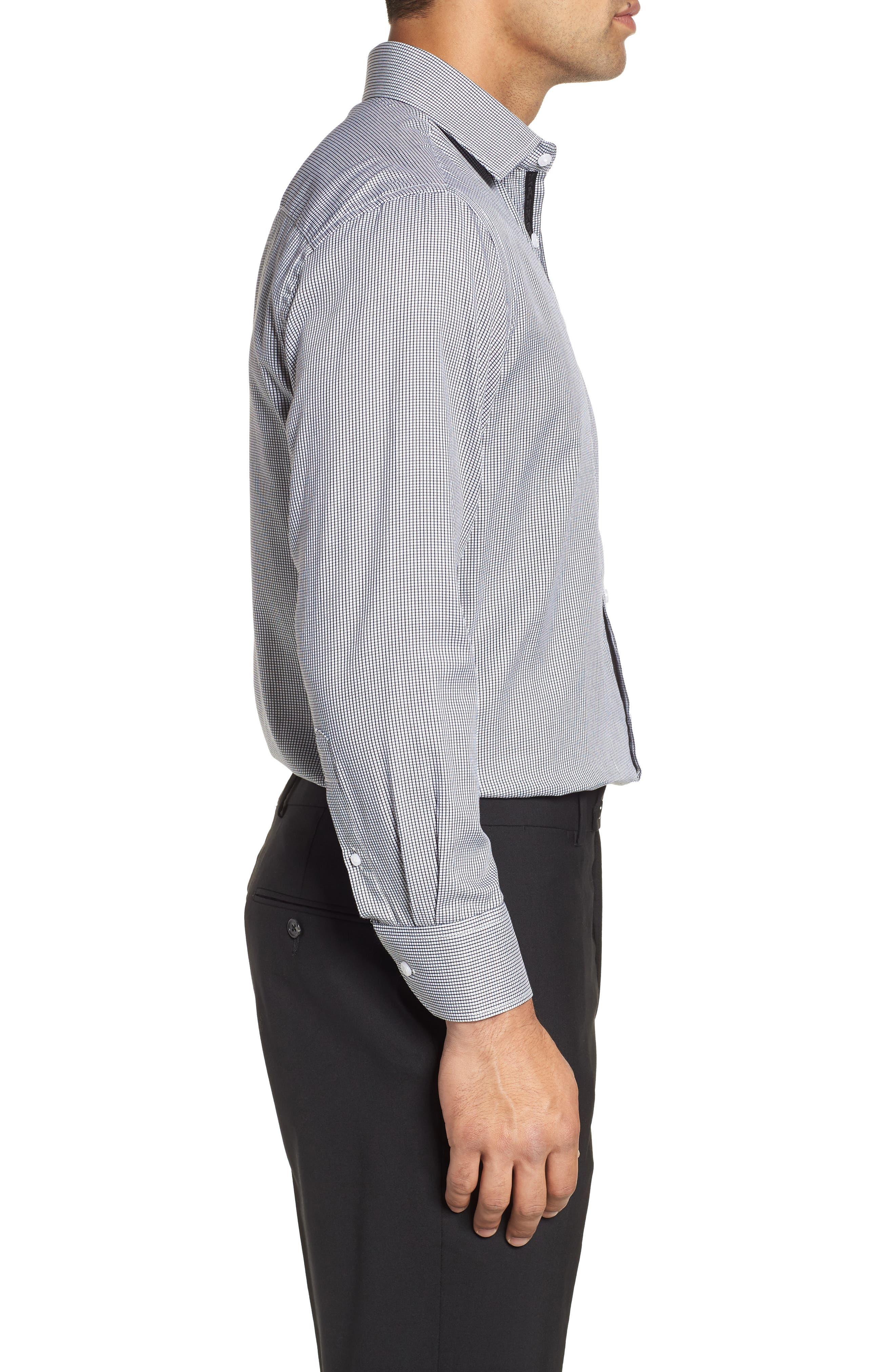 ENGLISH LAUNDRY,                             Regular Fit Check Dress Shirt,                             Alternate thumbnail 4, color,                             001