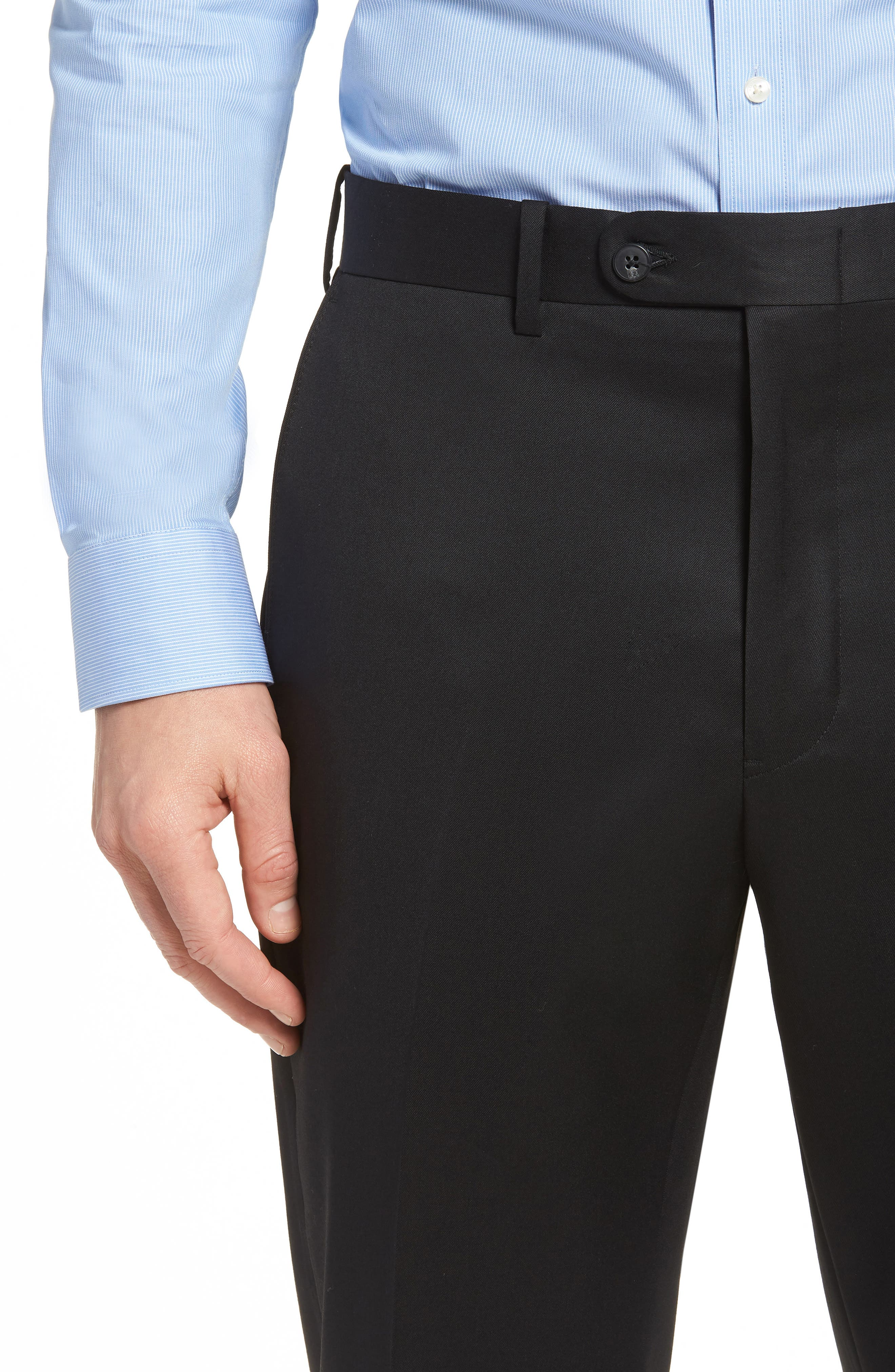 Torino Traditional Fit Flat Front Solid Trousers,                             Alternate thumbnail 4, color,                             BLACK