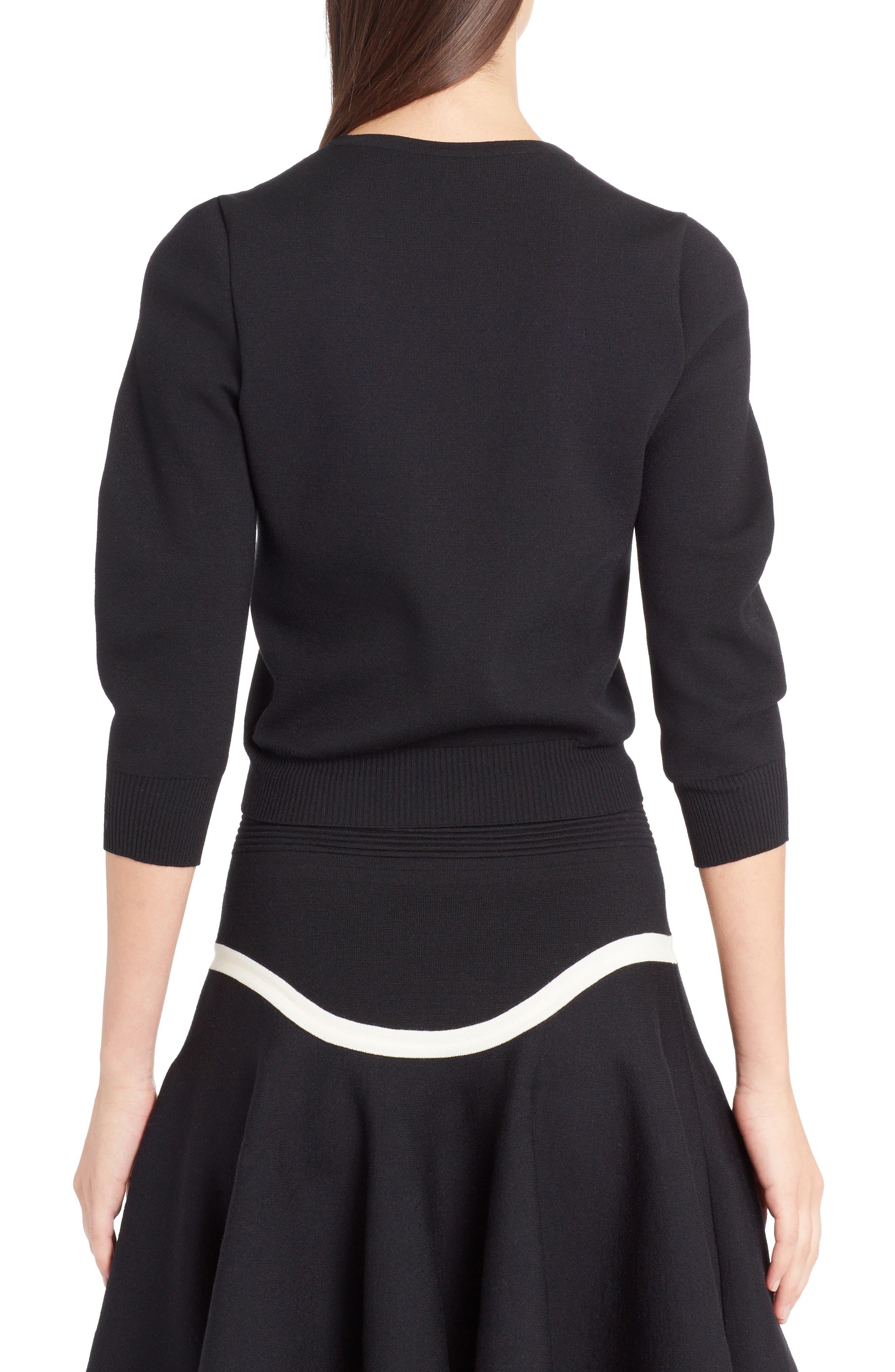 Graphic Cutout Sweater,                             Alternate thumbnail 2, color,                             BLACK/ IVORY