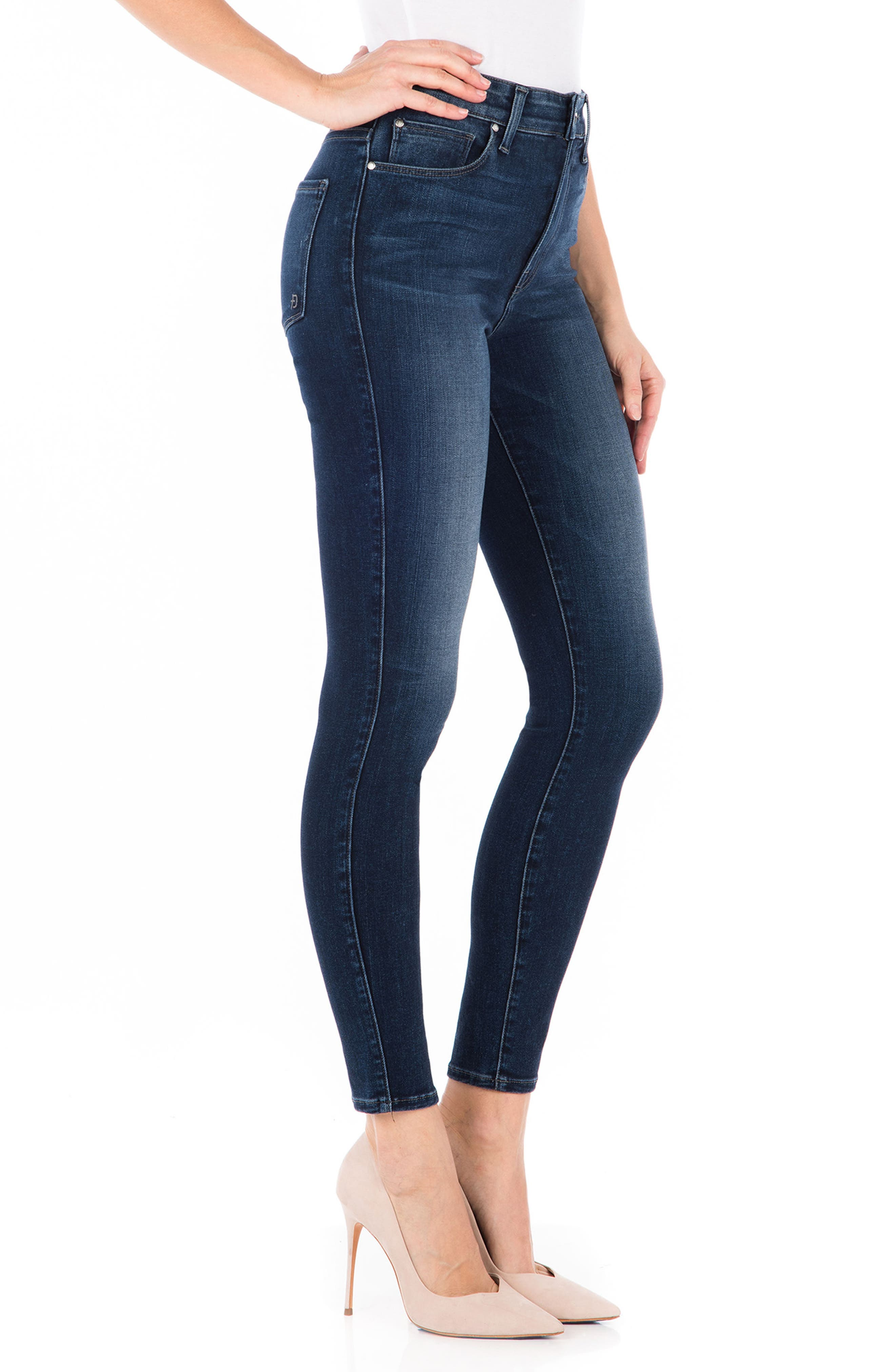 Luna High Waist Skinny Jeans,                             Alternate thumbnail 3, color,                             BLUE SUEDE