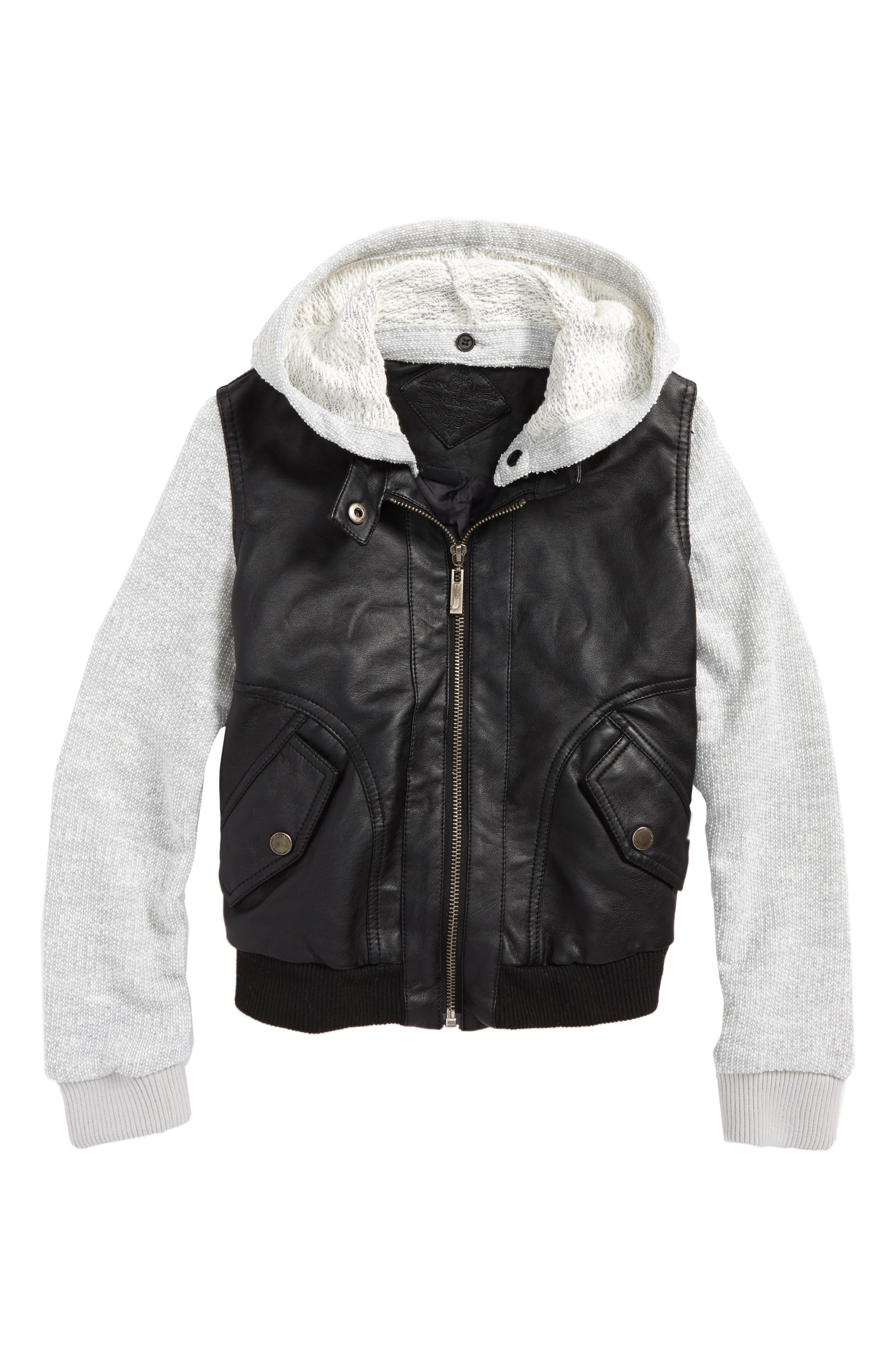 Mix Media Moto Jacket,                         Main,                         color, 001