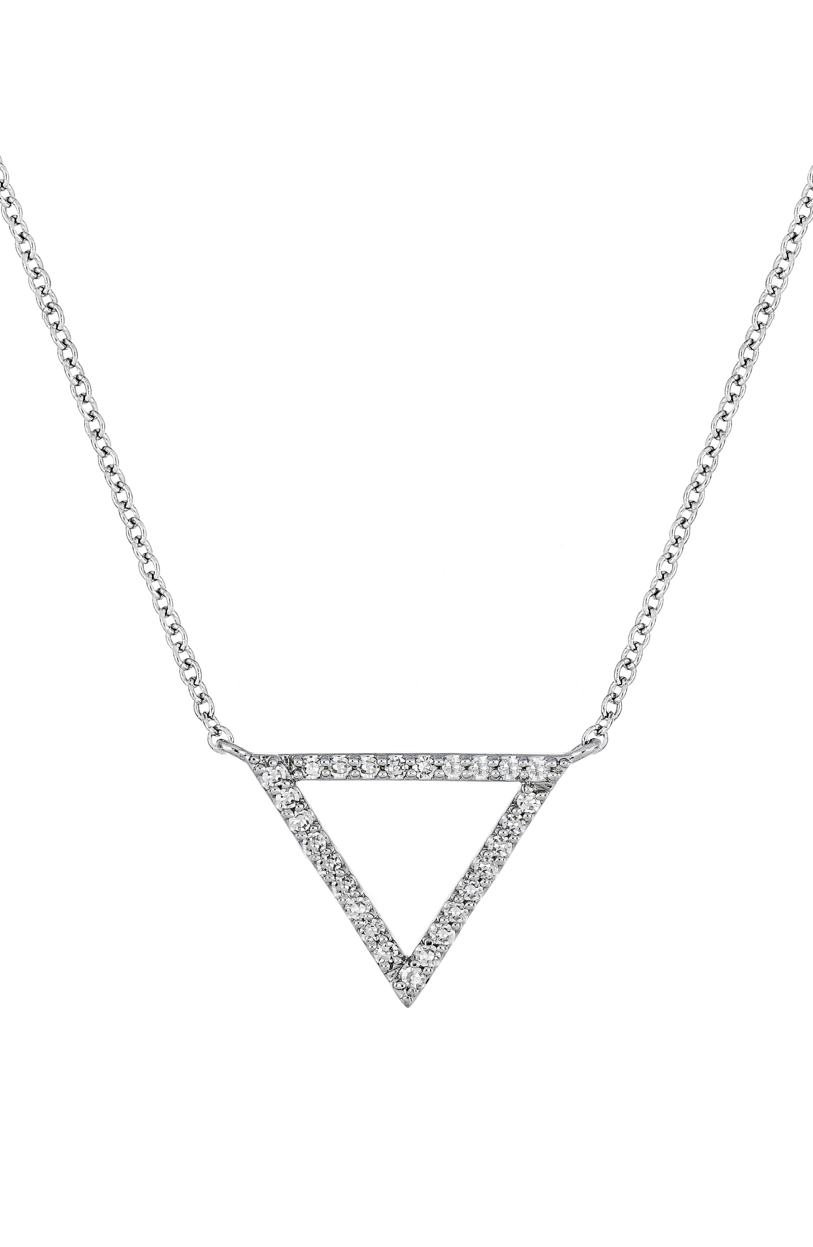 Carrière Medium Triangle Diamond Pendant Necklace,                             Main thumbnail 1, color,                             STERLING SILVER/ DIAMOND