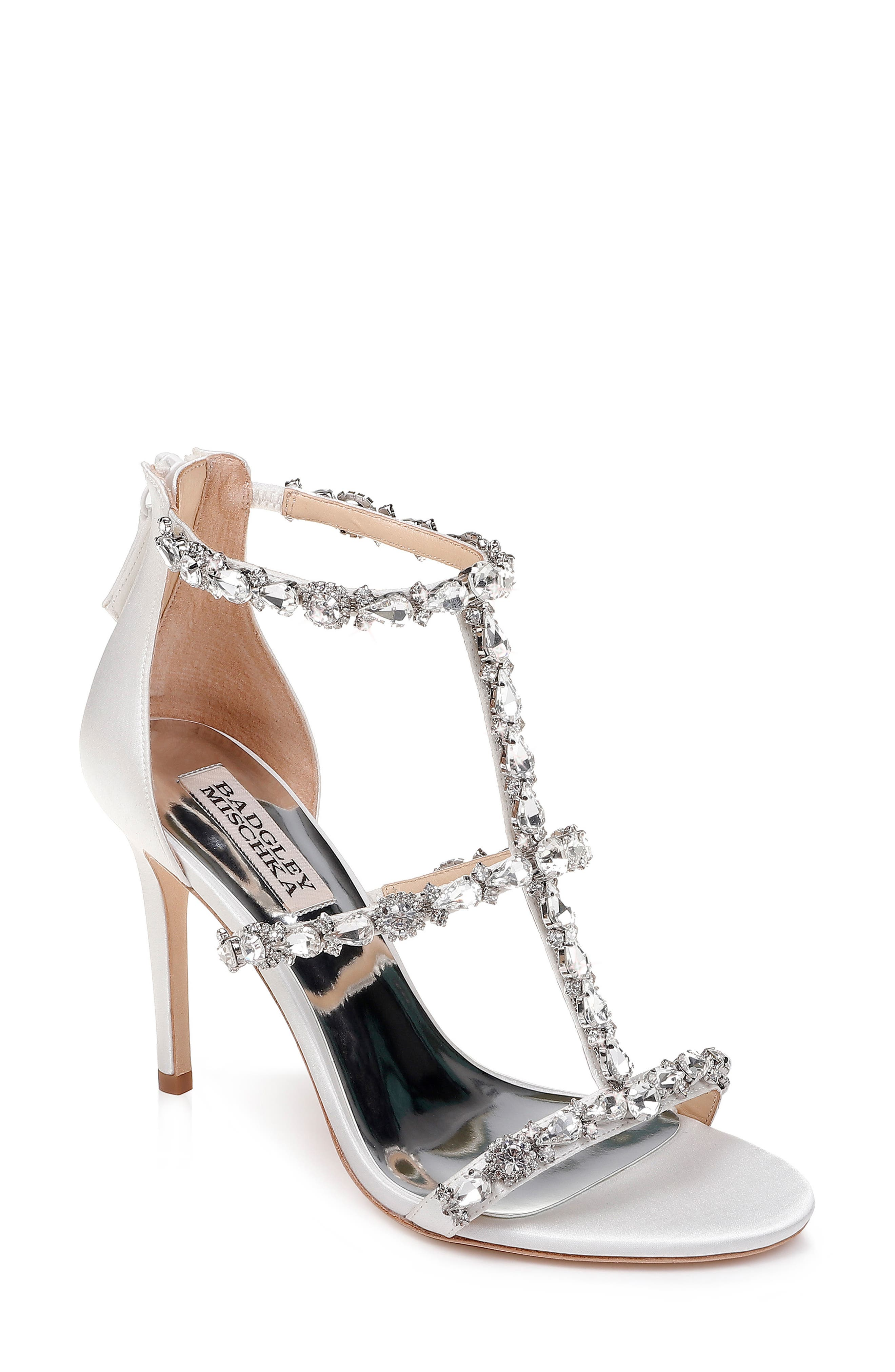 Querida Embellished Sandal,                         Main,                         color, SOFT WHITE SATIN