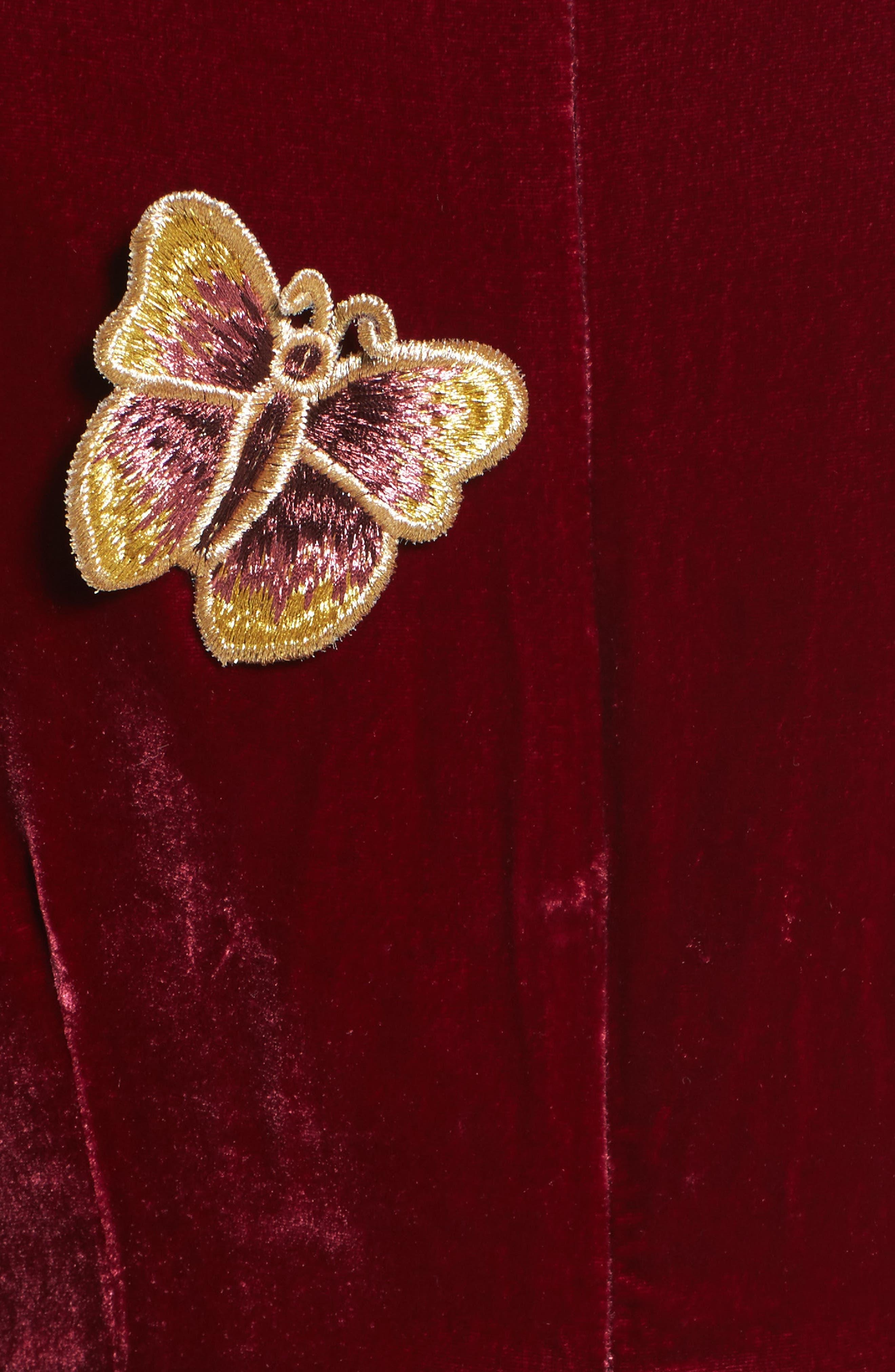 Papillon Appliqué Velvet Swing Dress,                             Alternate thumbnail 5, color,                             930