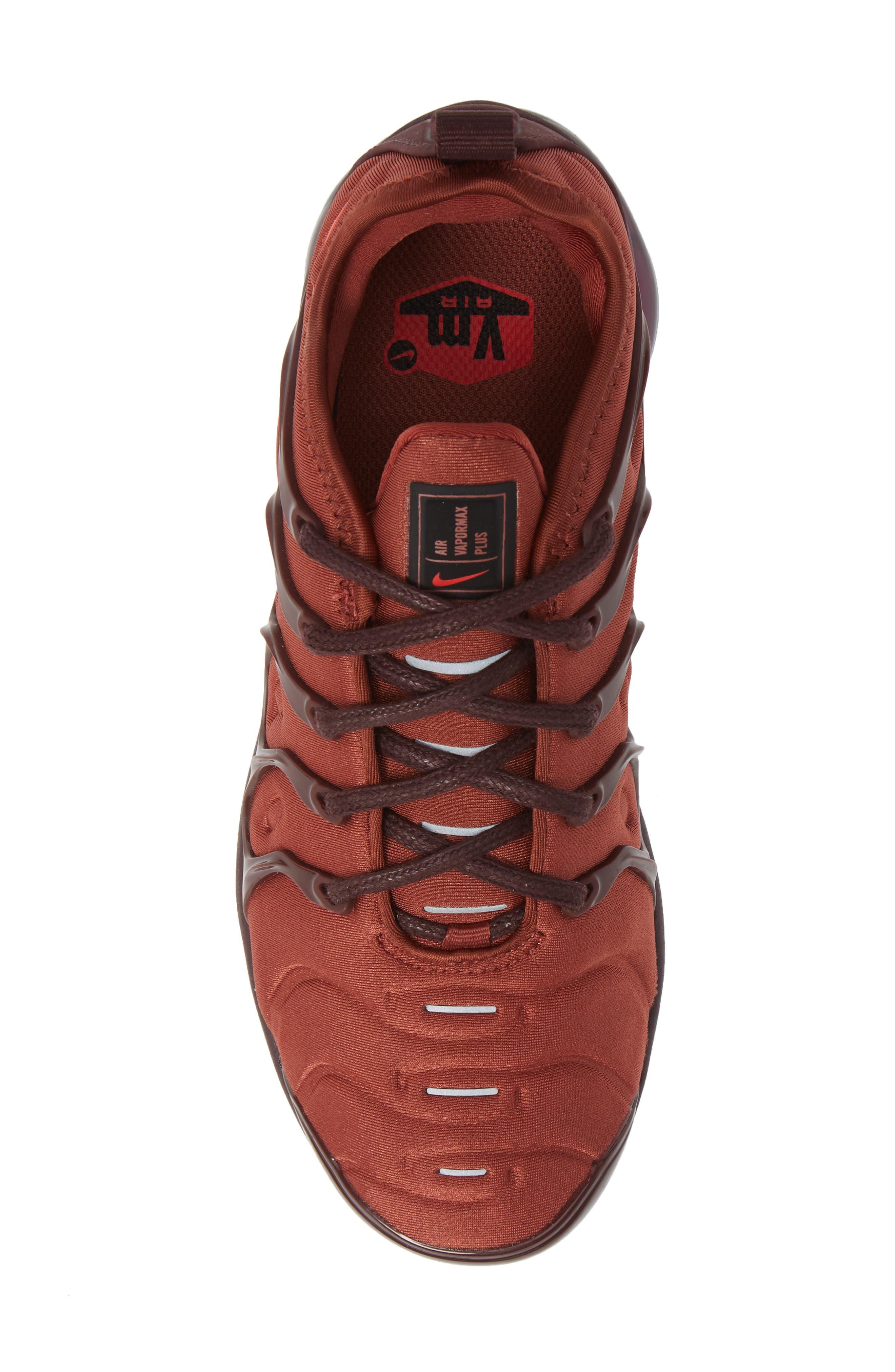 Air VaporMax Plus Sneaker,                             Alternate thumbnail 5, color,                             BURNT ORANGE/ RED-BURGUNDY