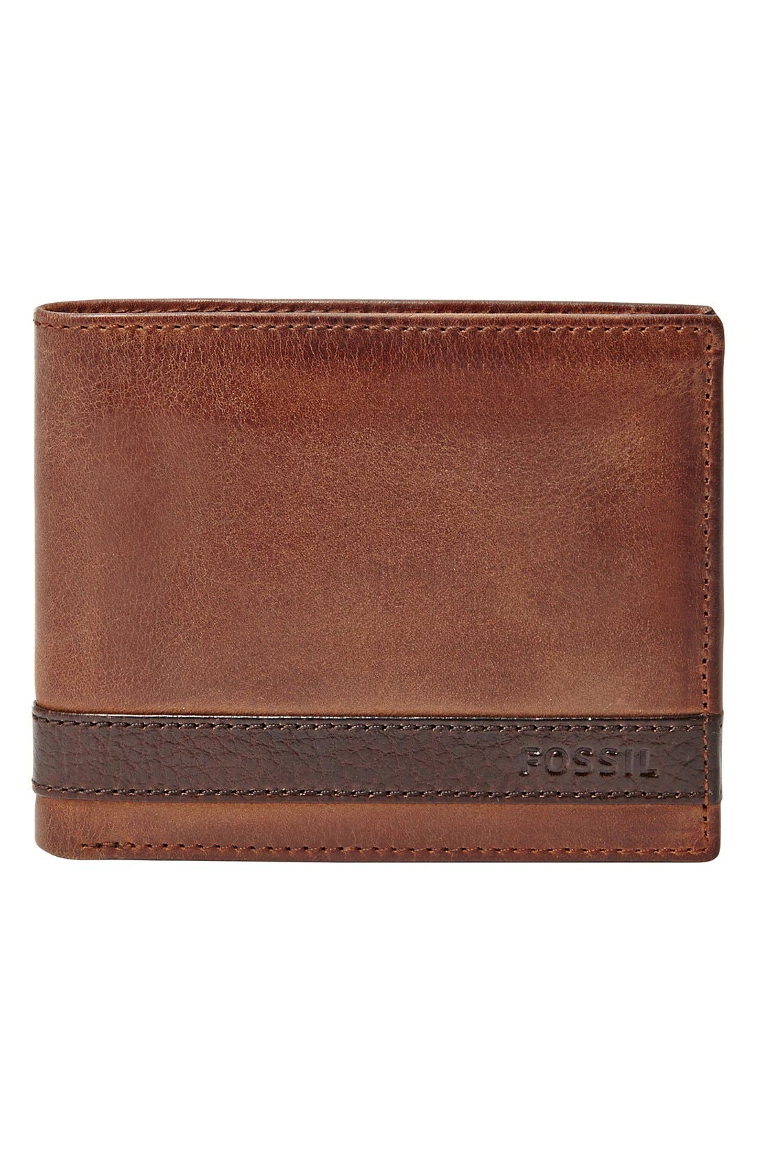 'Quinn' Leather Bifold Wallet,                             Main thumbnail 1, color,                             BROWN
