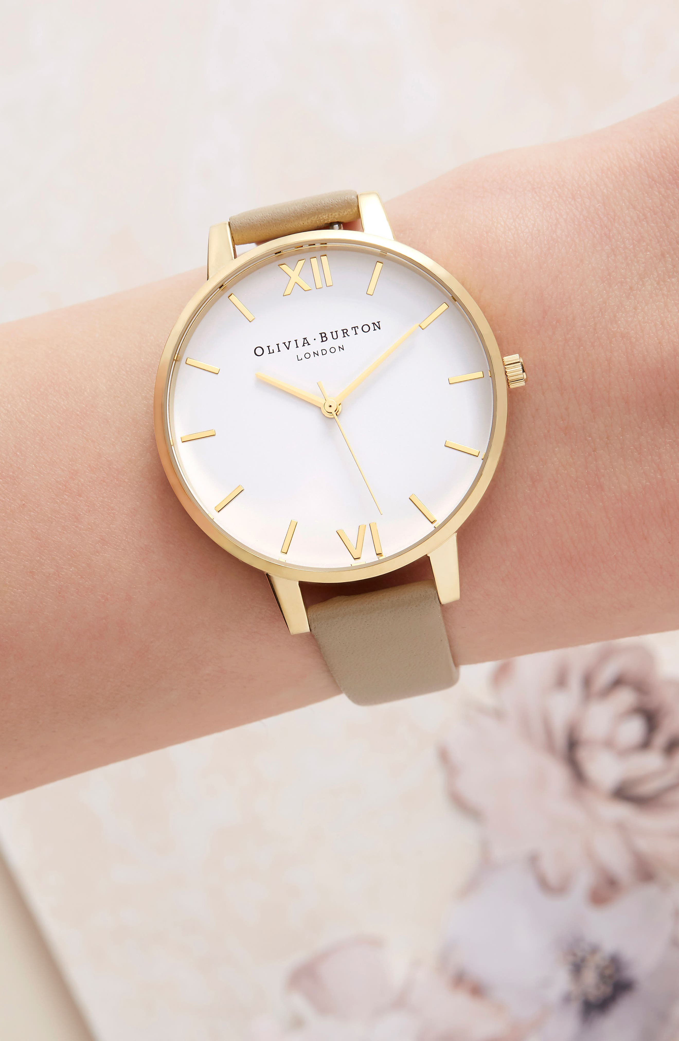 Leather Strap Watch, 38mm,                             Alternate thumbnail 7, color,                             SAND/ WHITE/ GOLD
